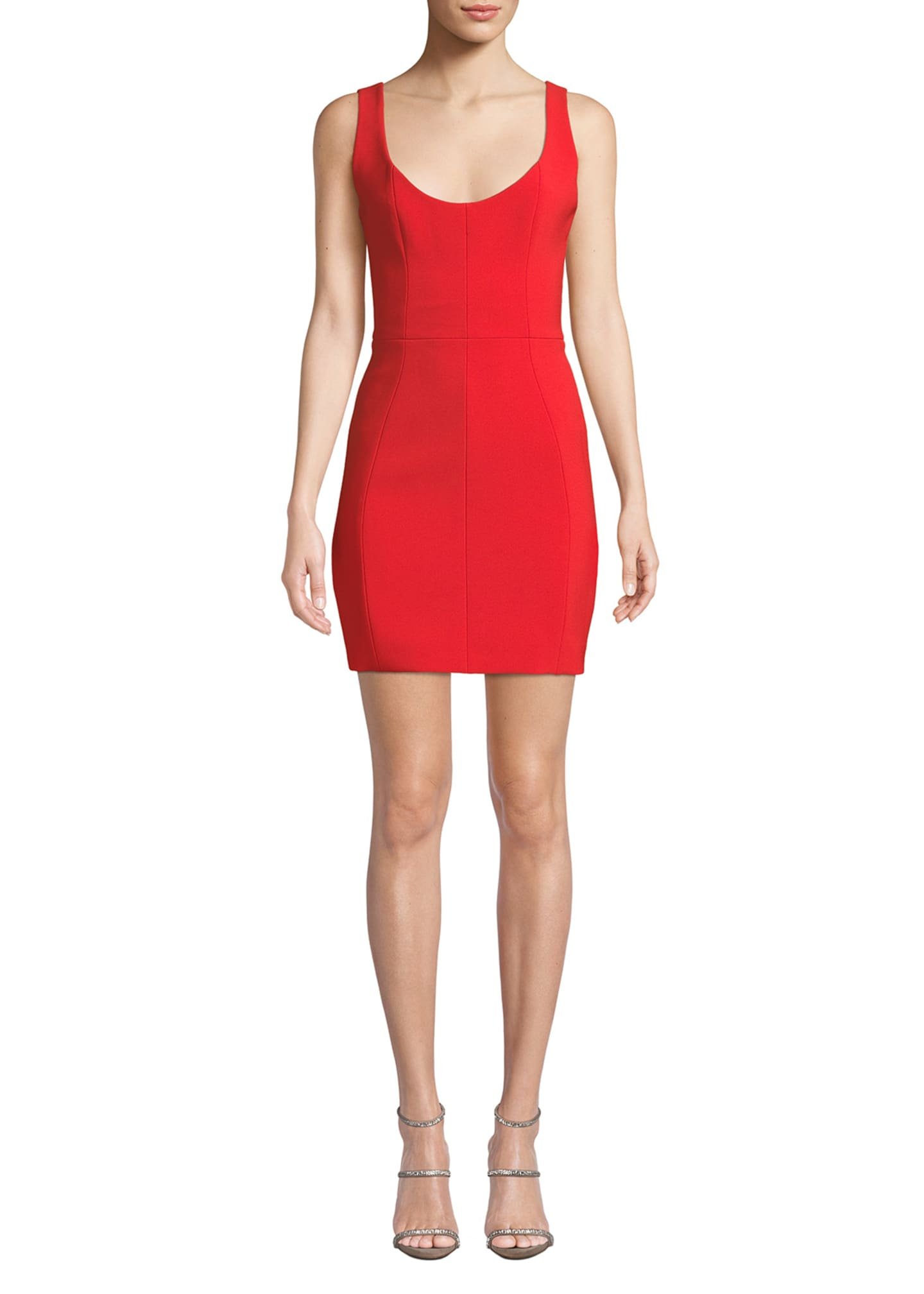 Image 1 of 3: Scoop-Neck Pique Body-Con Dress
