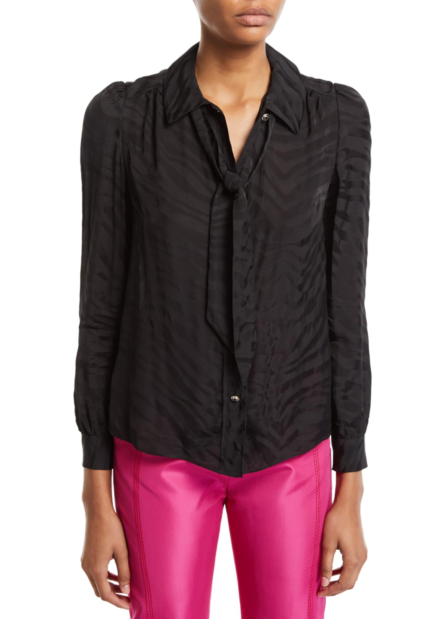 Carmen March Tie-Neck Zebra Jacquard Button-Front Blouse
