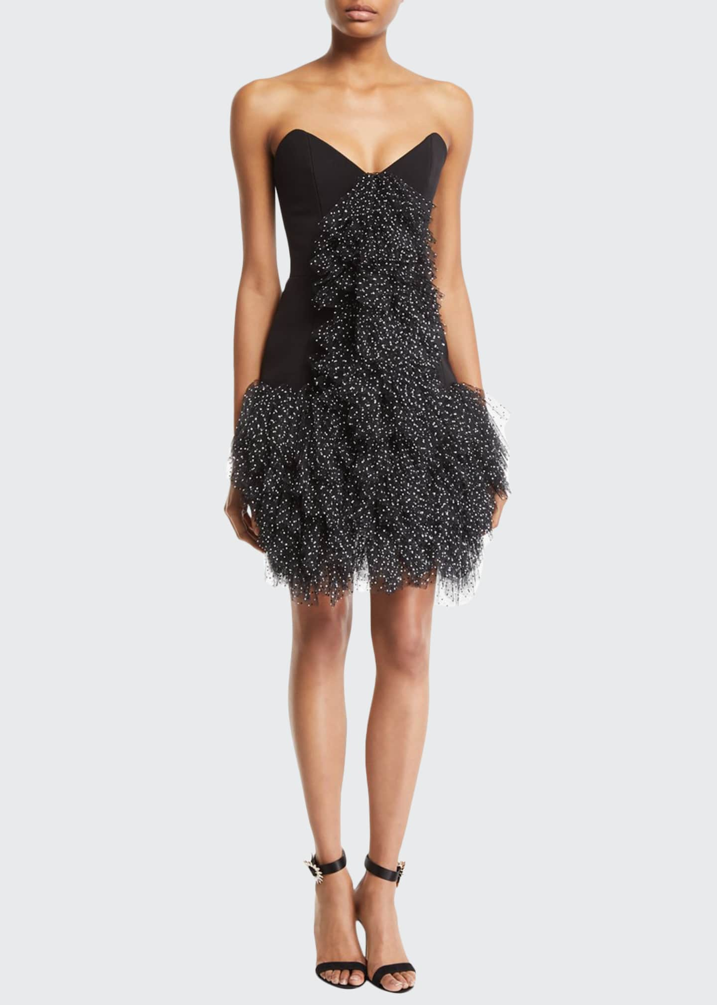 Carmen March Ruffled Tulle-Front Strapless Cocktail Dress