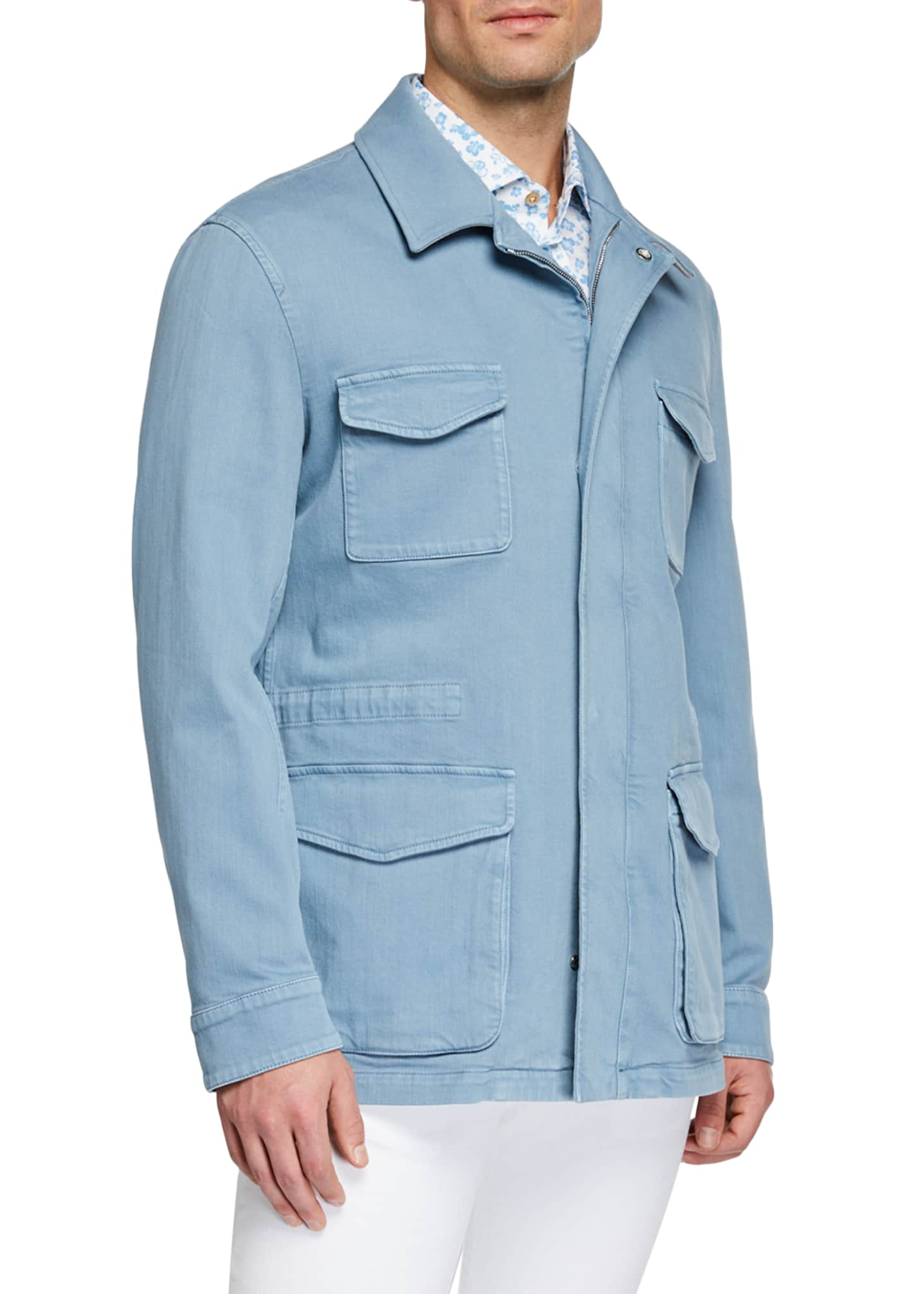 Image 2 of 3: Men's Light Wash Denim Safari Jacket