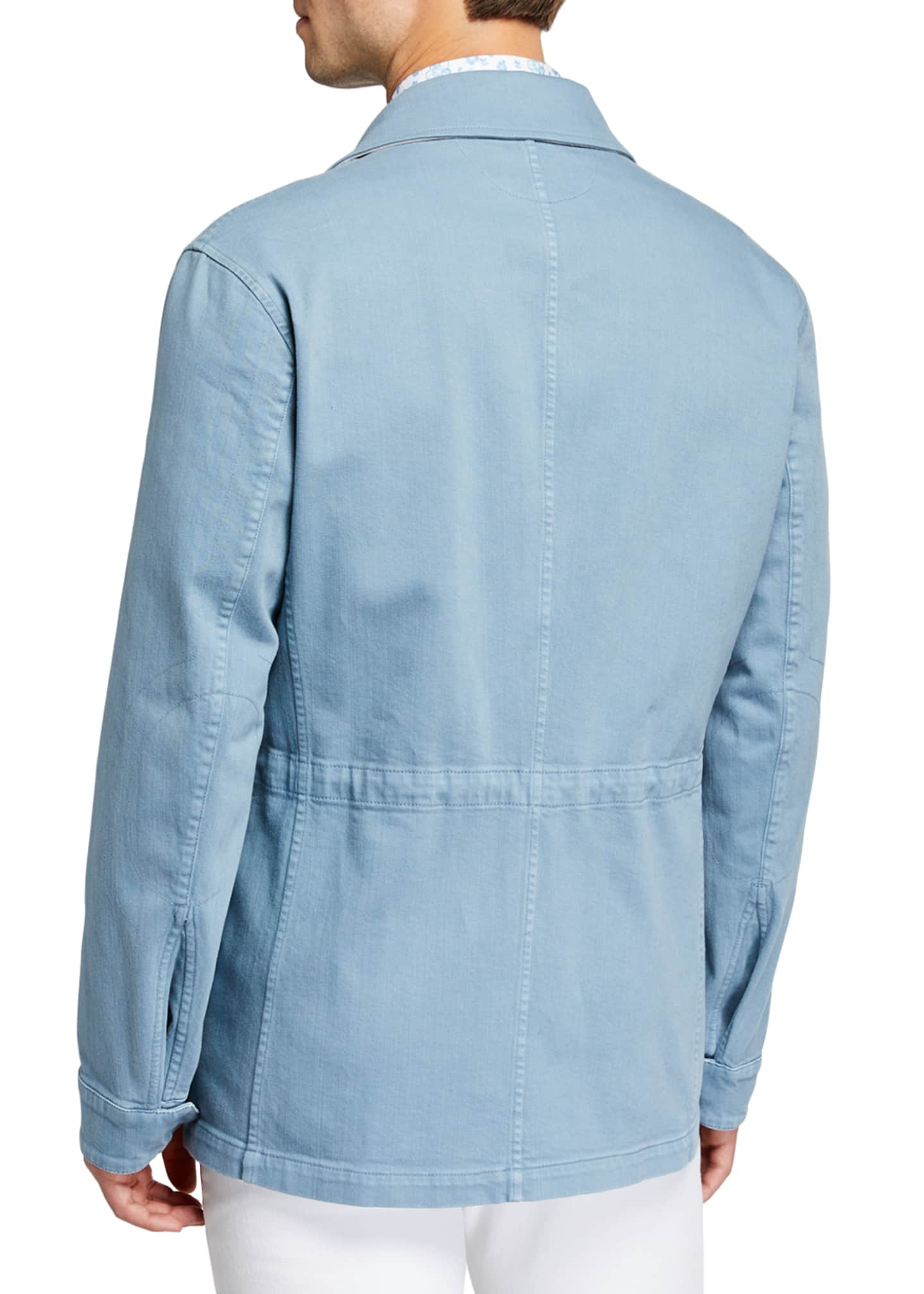 Image 3 of 3: Men's Light Wash Denim Safari Jacket