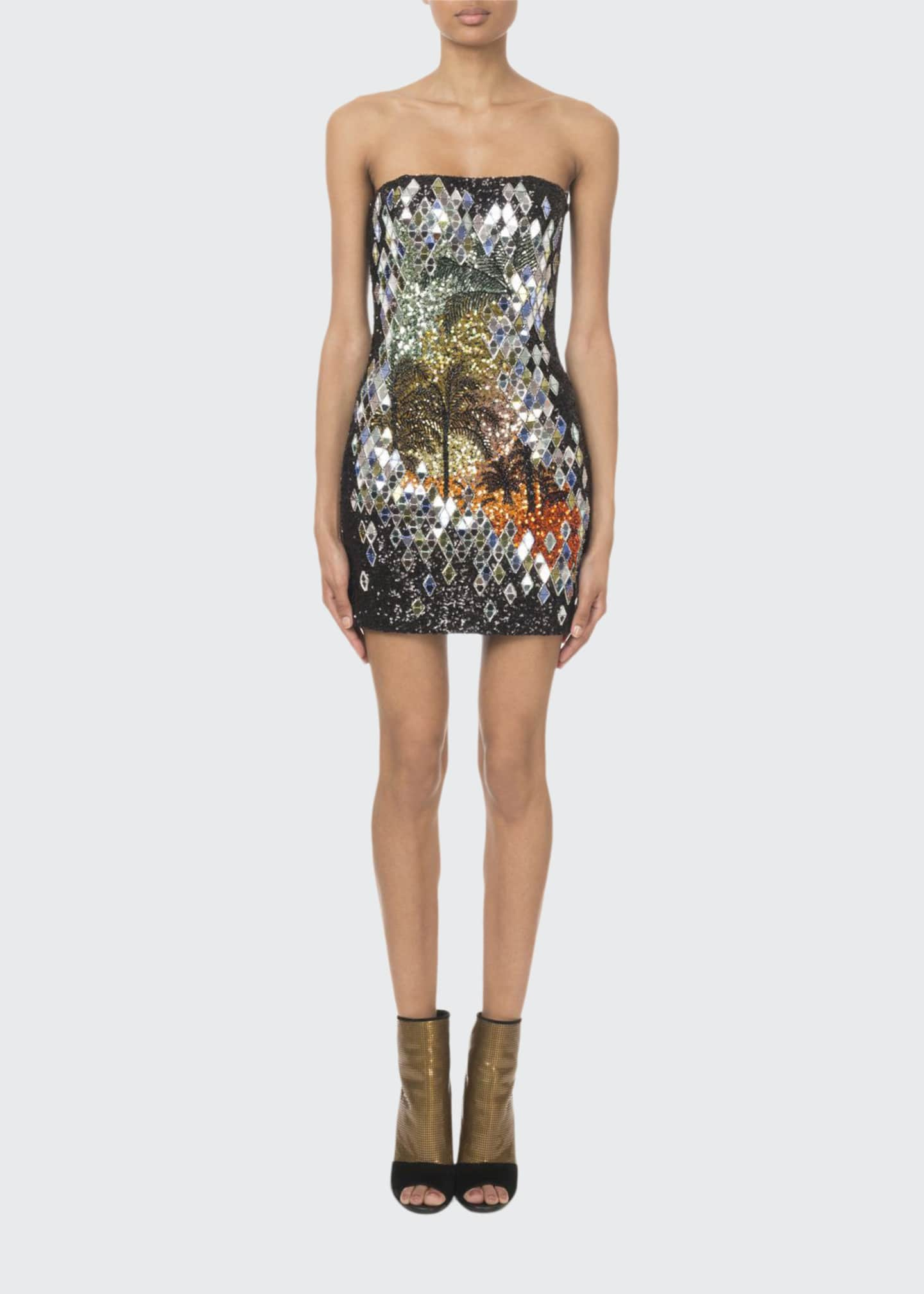 Balmain Strapless Mirror-Sequined Palm-Tree Mini Dress