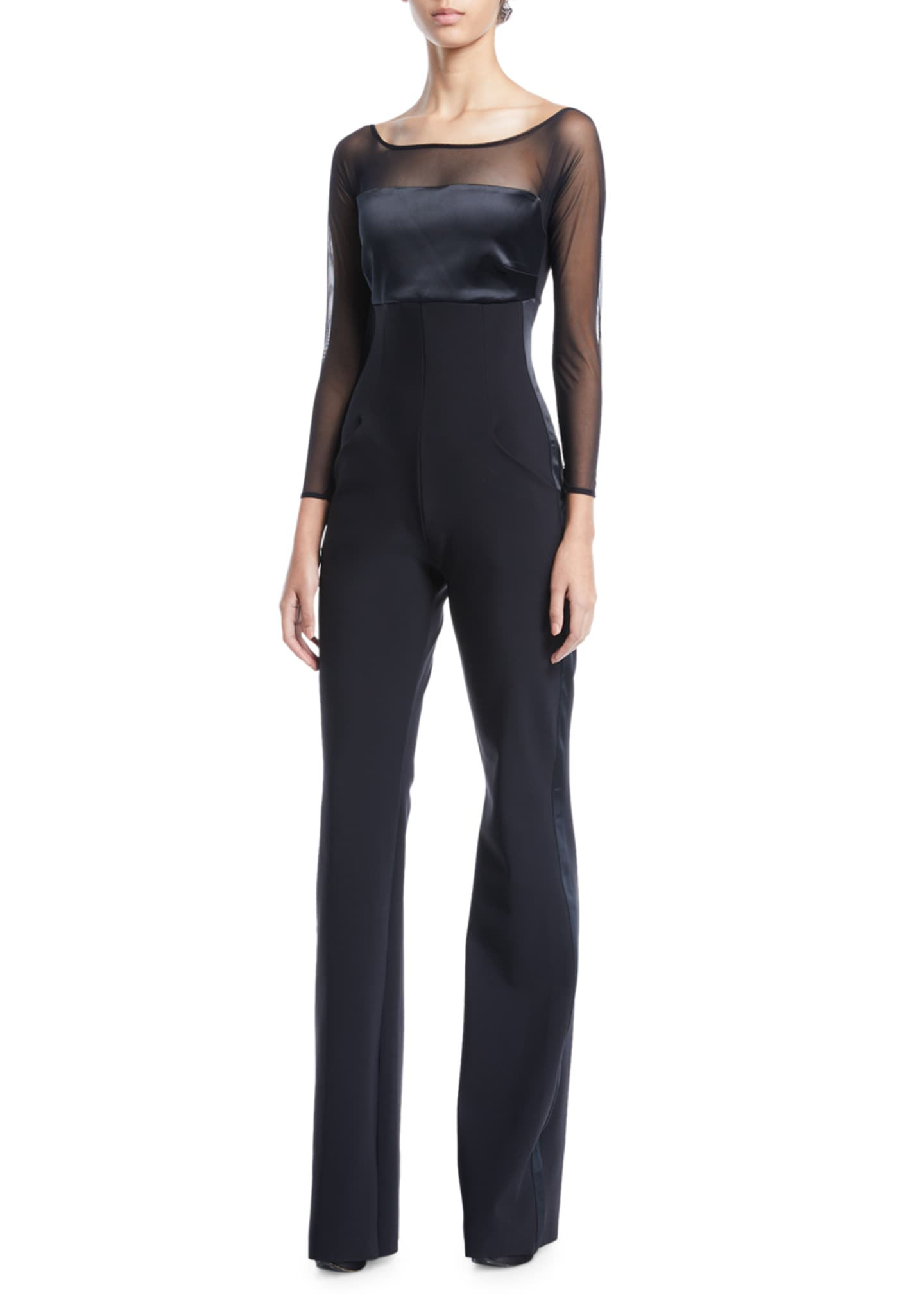 Image 1 of 2: Eke Long-Sleeve Illusion Jumpsuit