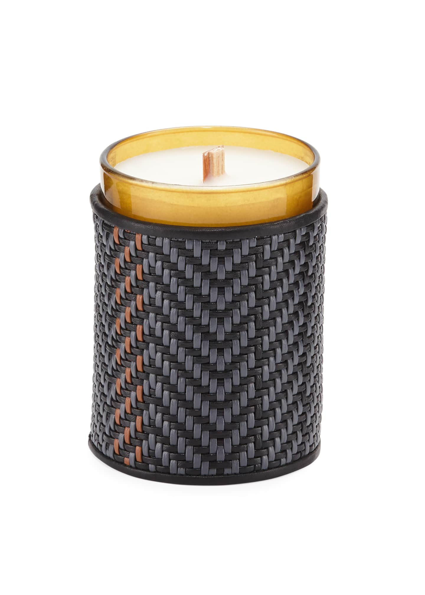 Ermenegildo Zegna Pelle Tessuta Candleholder with Candle