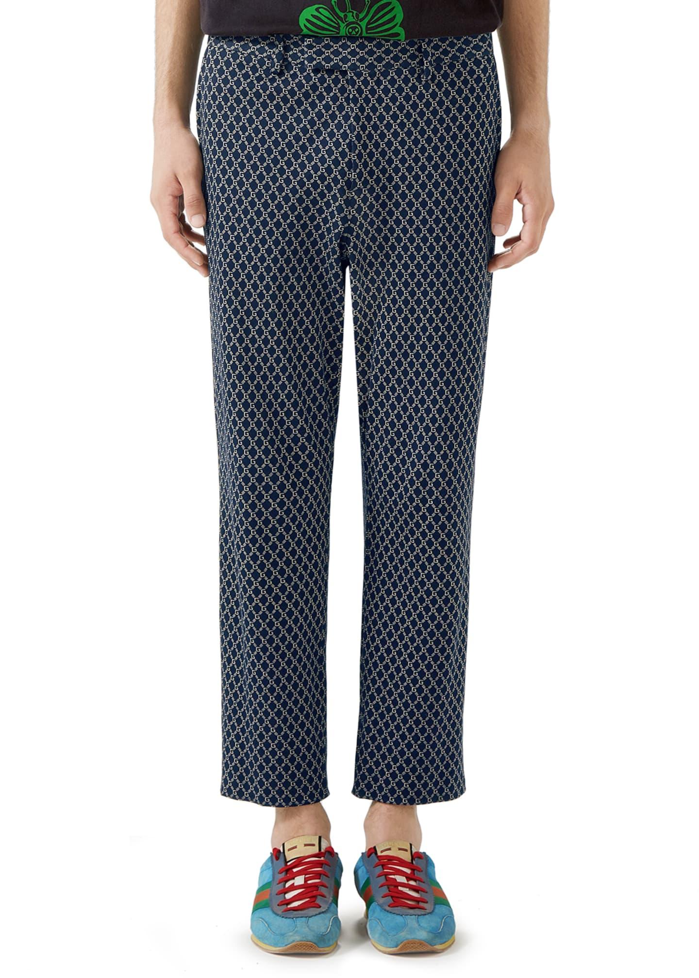 Gucci Men's GG Logo-Print Cotton Trousers