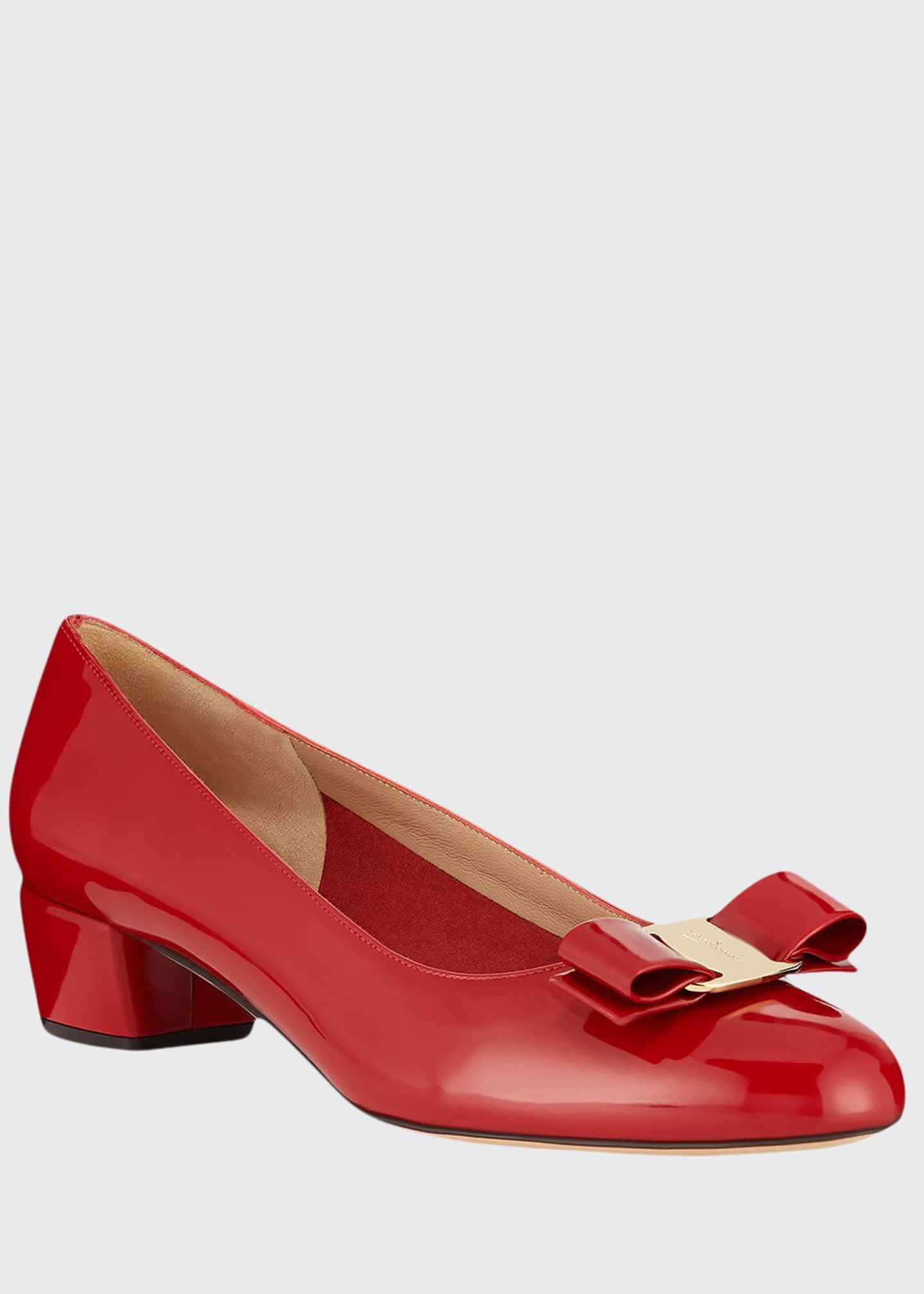 Salvatore Ferragamo Vara 1 Patent Bow Pumps, Red