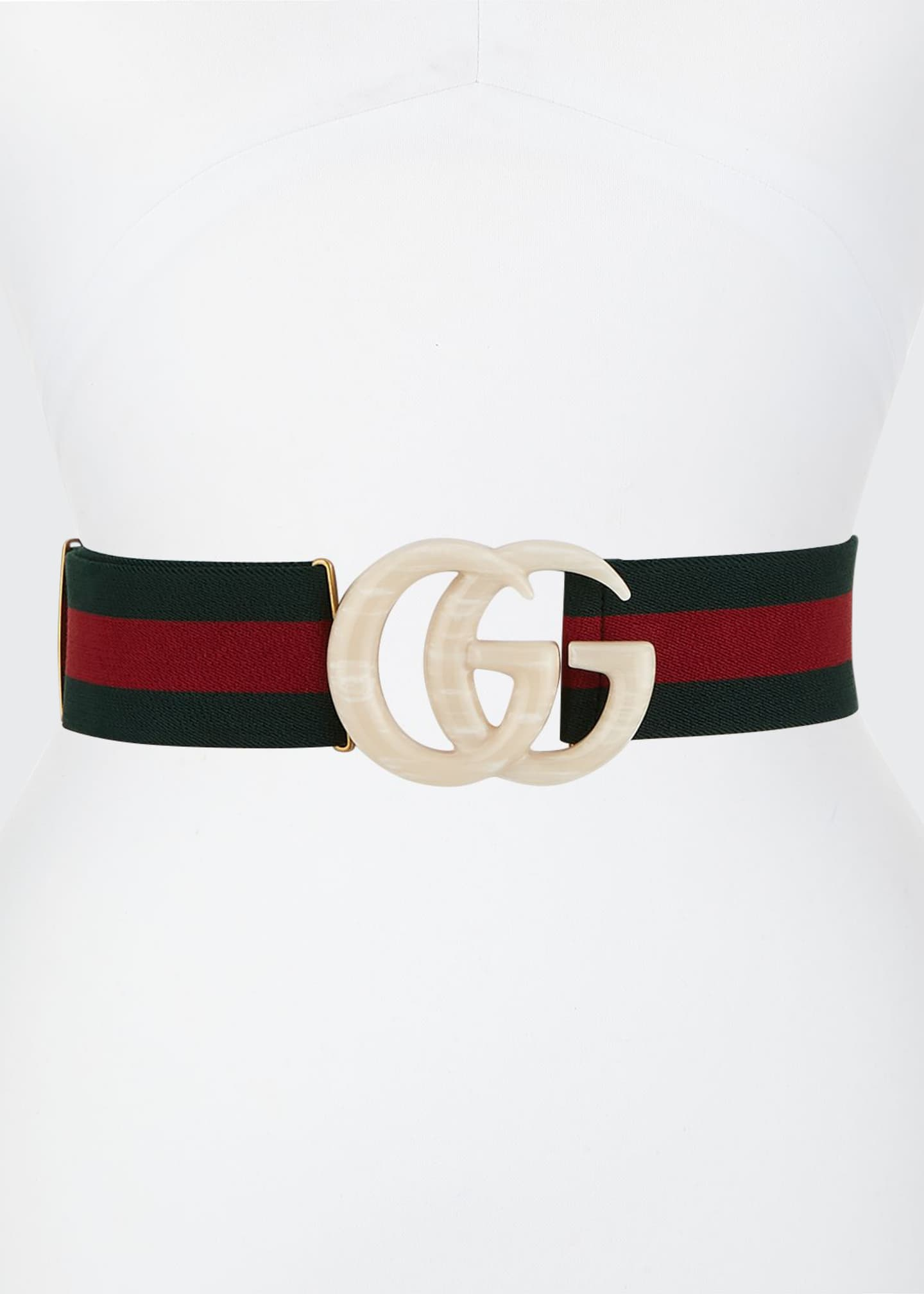 Image 1 of 1: Elastic Web Belt w/ Piccadilly Moon Plexiglass Double-G Buckle