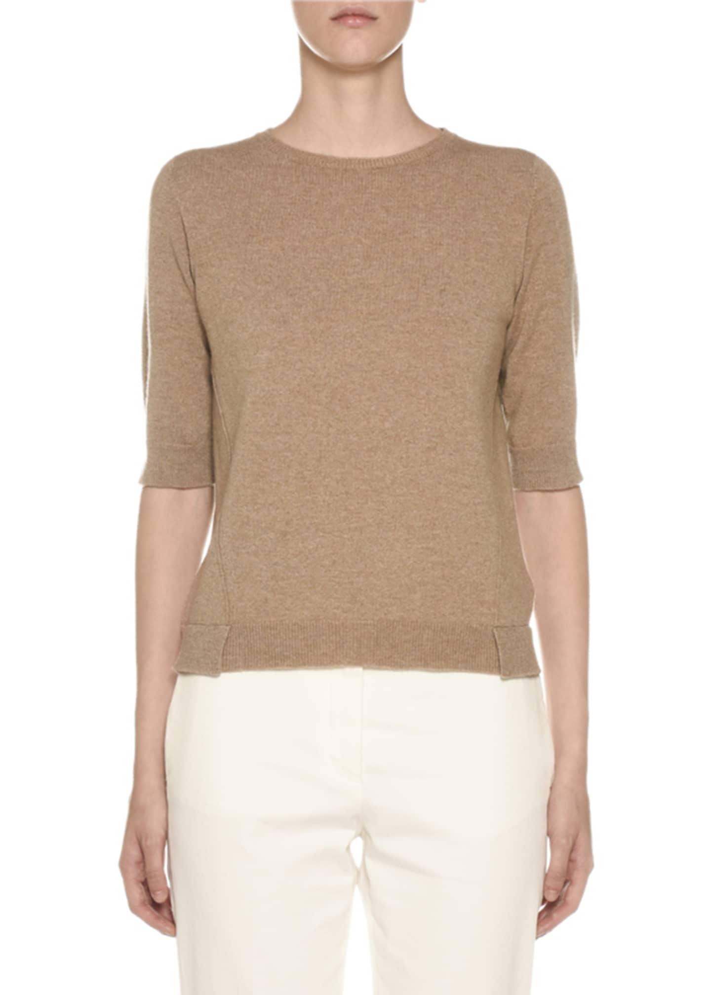 Agnona Cashmere 1/2-Sleeve Geometric-Slit Sweater
