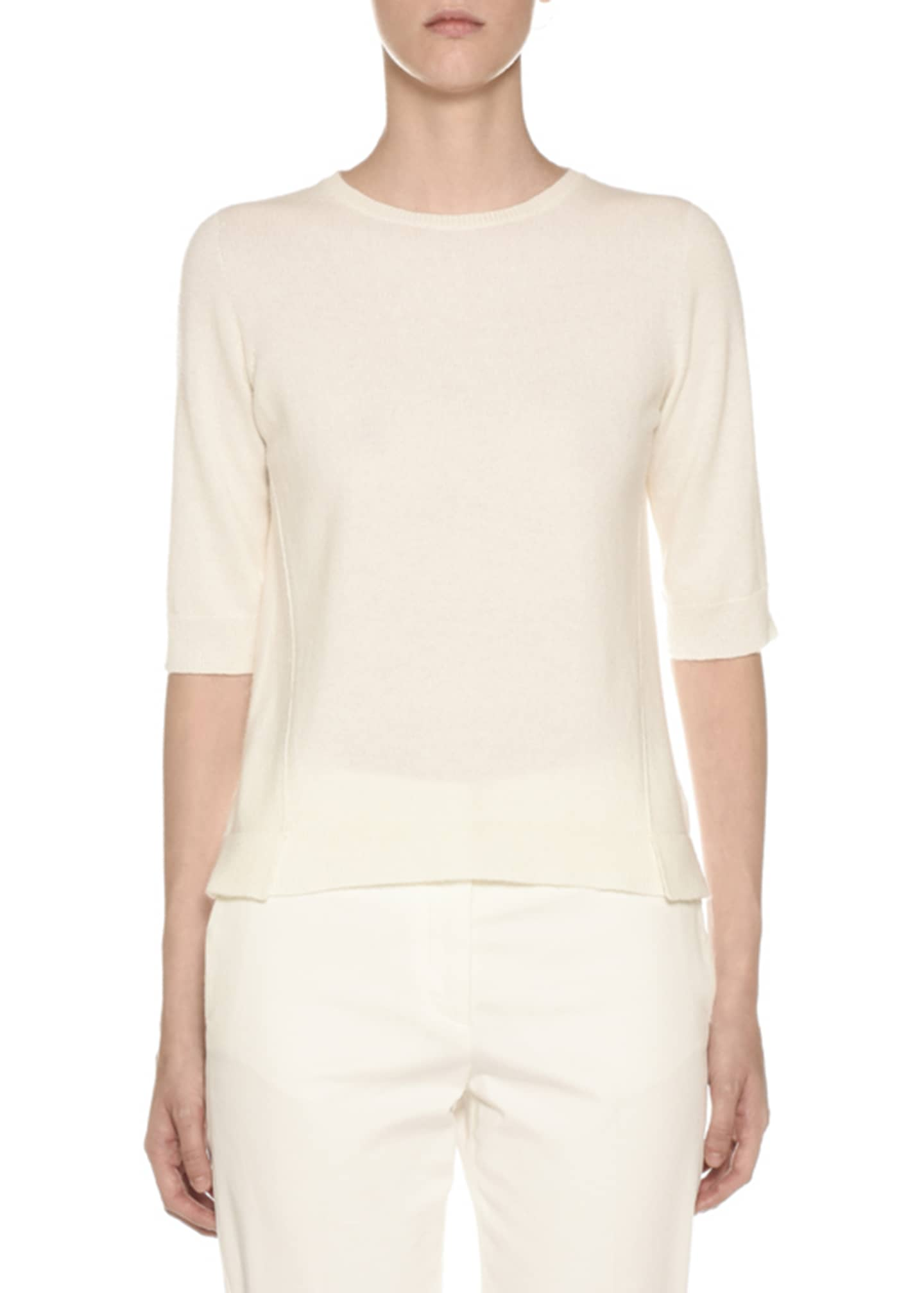 Agnona 1/2-Sleeve Cashmere Sweater, Off White