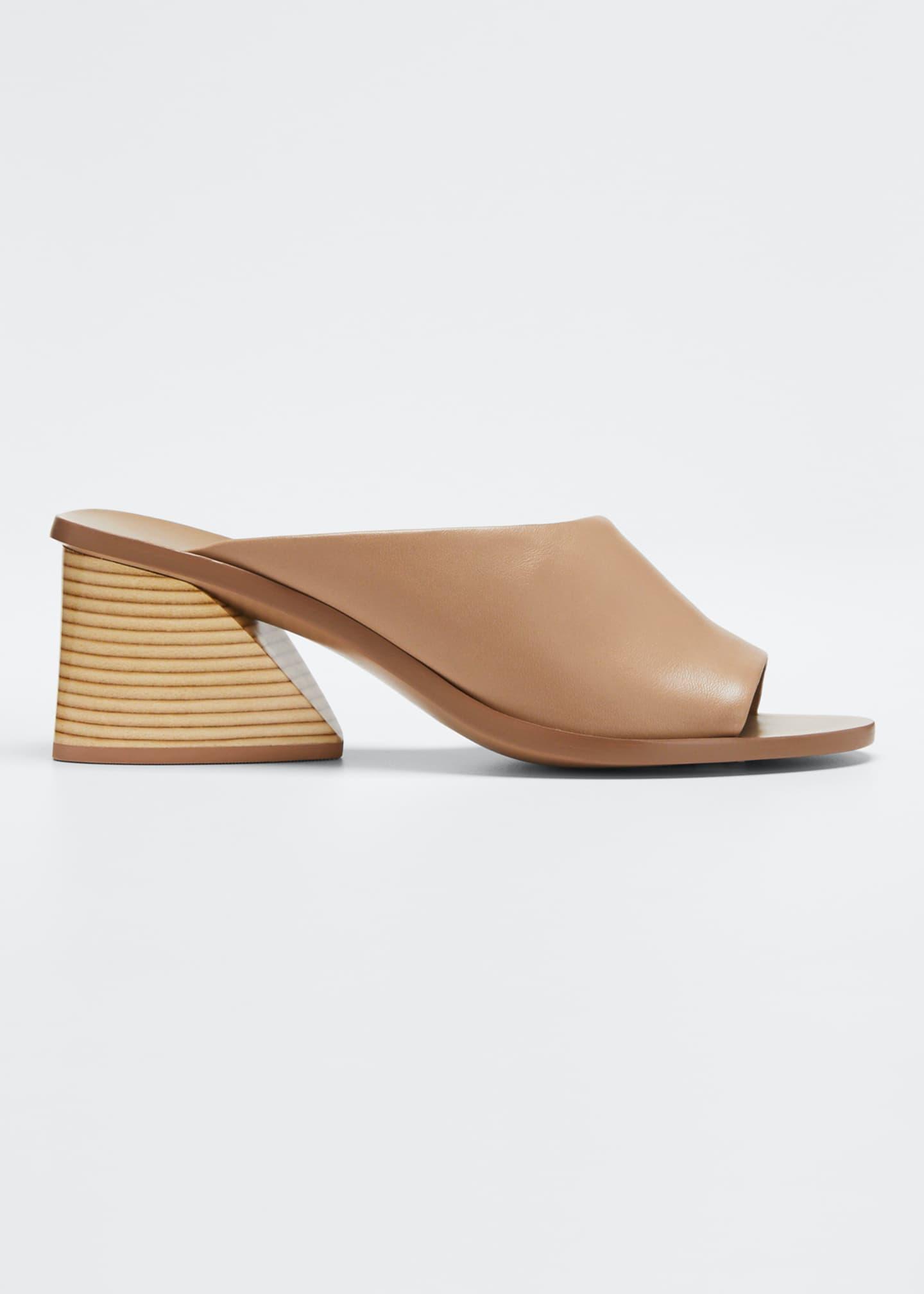 Mercedes Castillo Izar Suede Low-Heel Architectural Slide Sandals