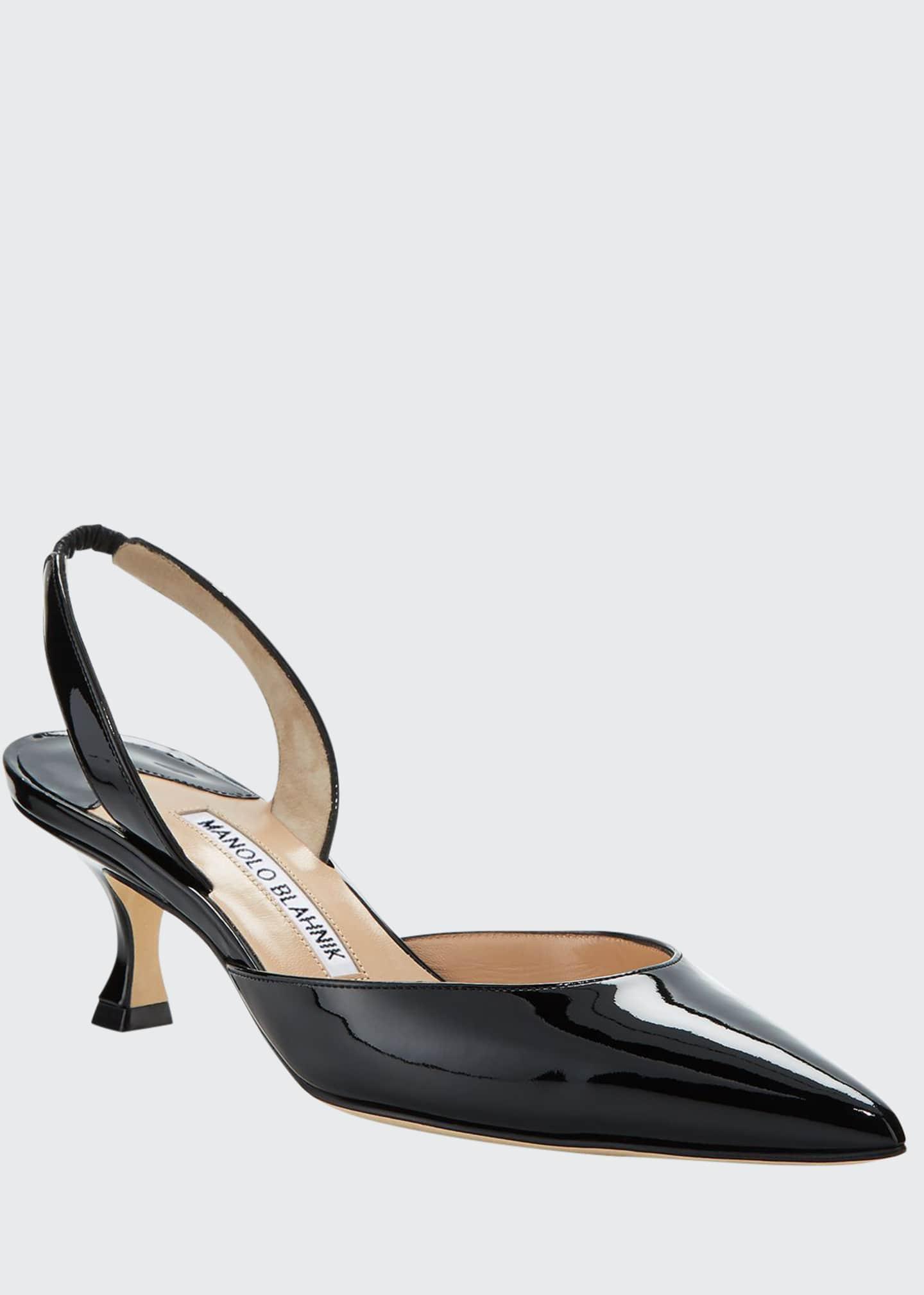 Manolo Blahnik Carolyne Low-Heel Patent Halter Pumps