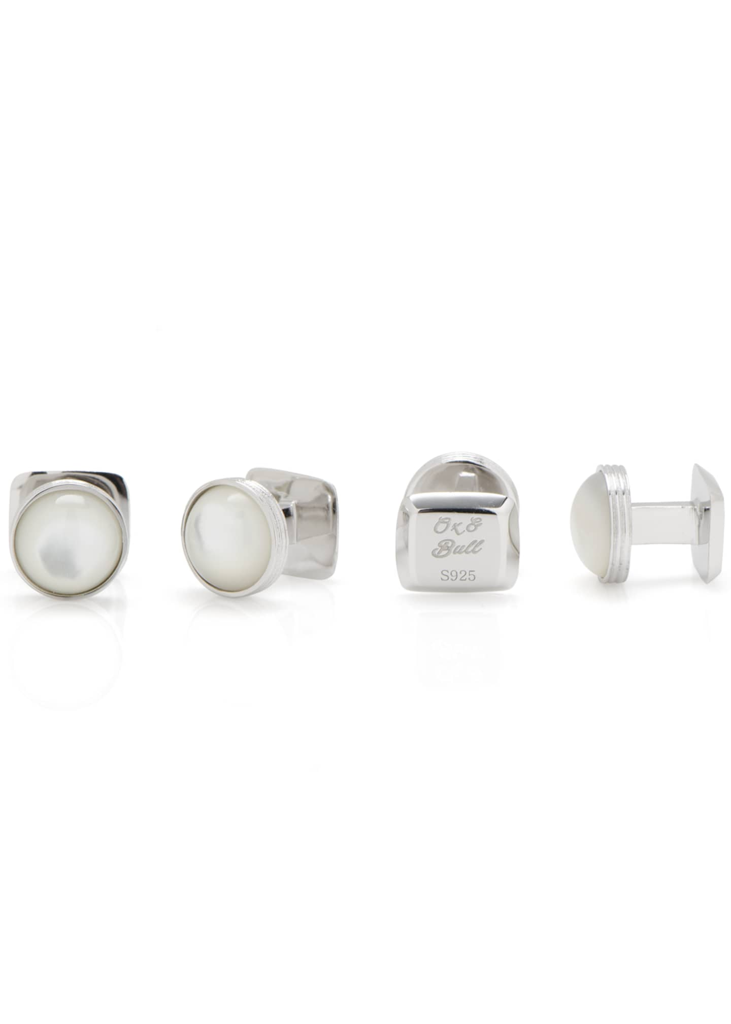 Image 3 of 4: Mother-of-Pearl Sterling Silver Cuff Links & Stud Set