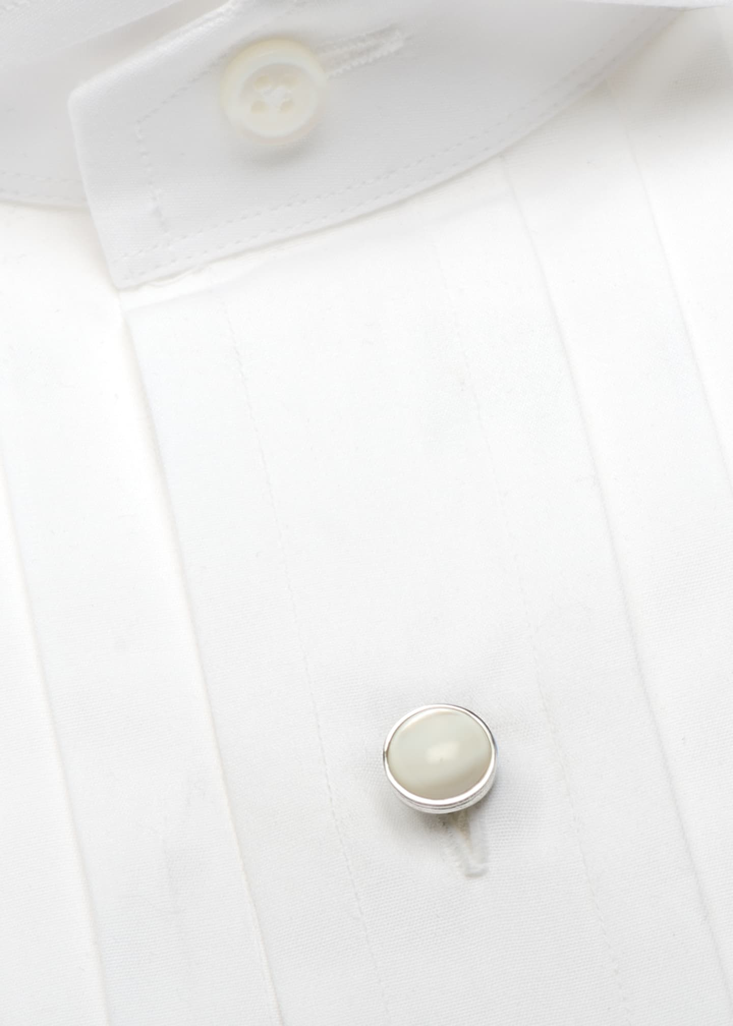 Image 4 of 4: Mother-of-Pearl Sterling Silver Cuff Links & Stud Set
