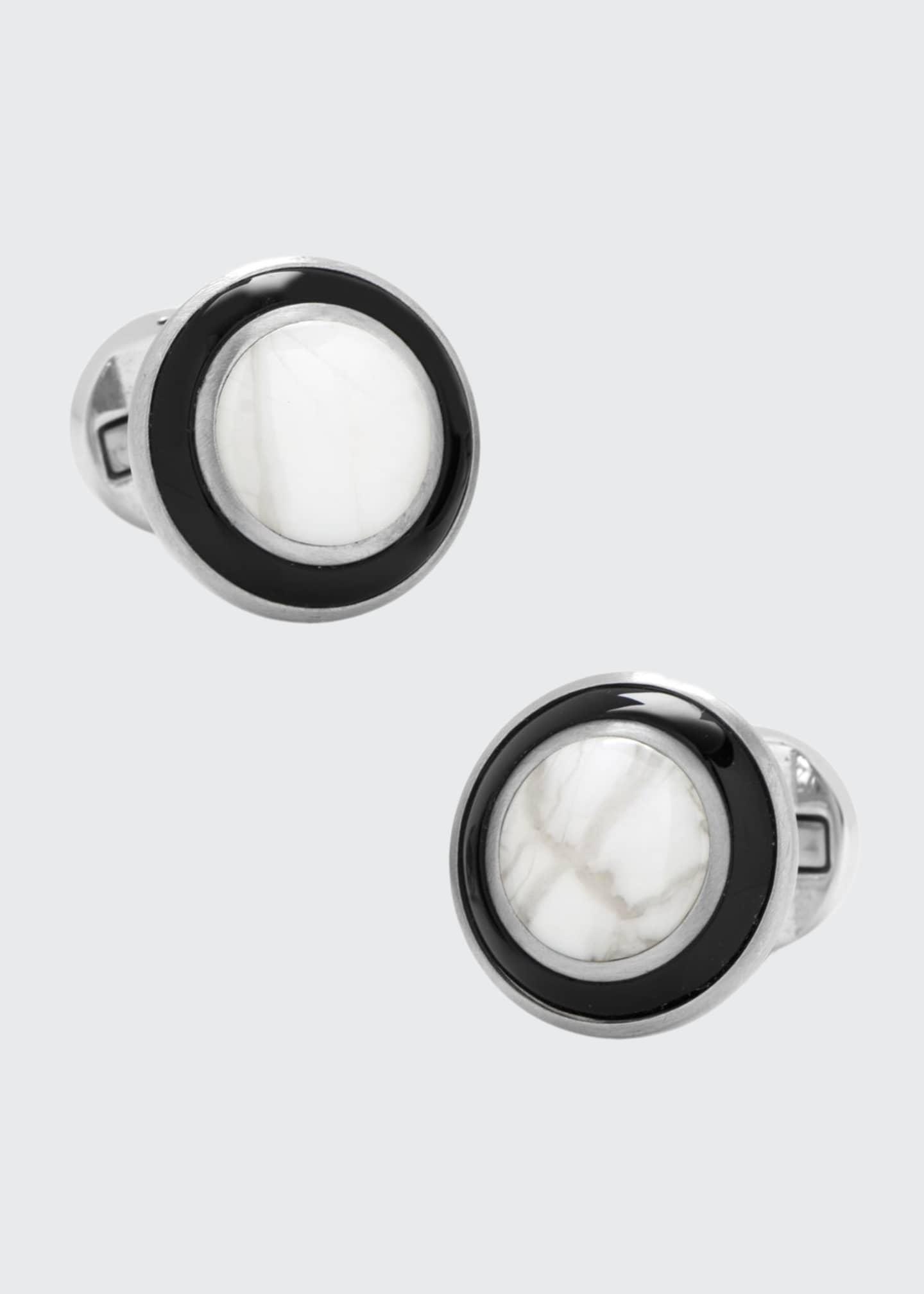 Cufflinks Inc. Jade-Inlay Stainless Steel Cuff Links with
