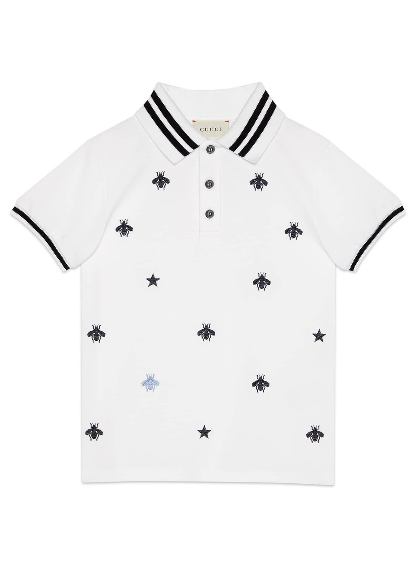 Gucci Bees & Stars Embroidered Polo Shirt, Size