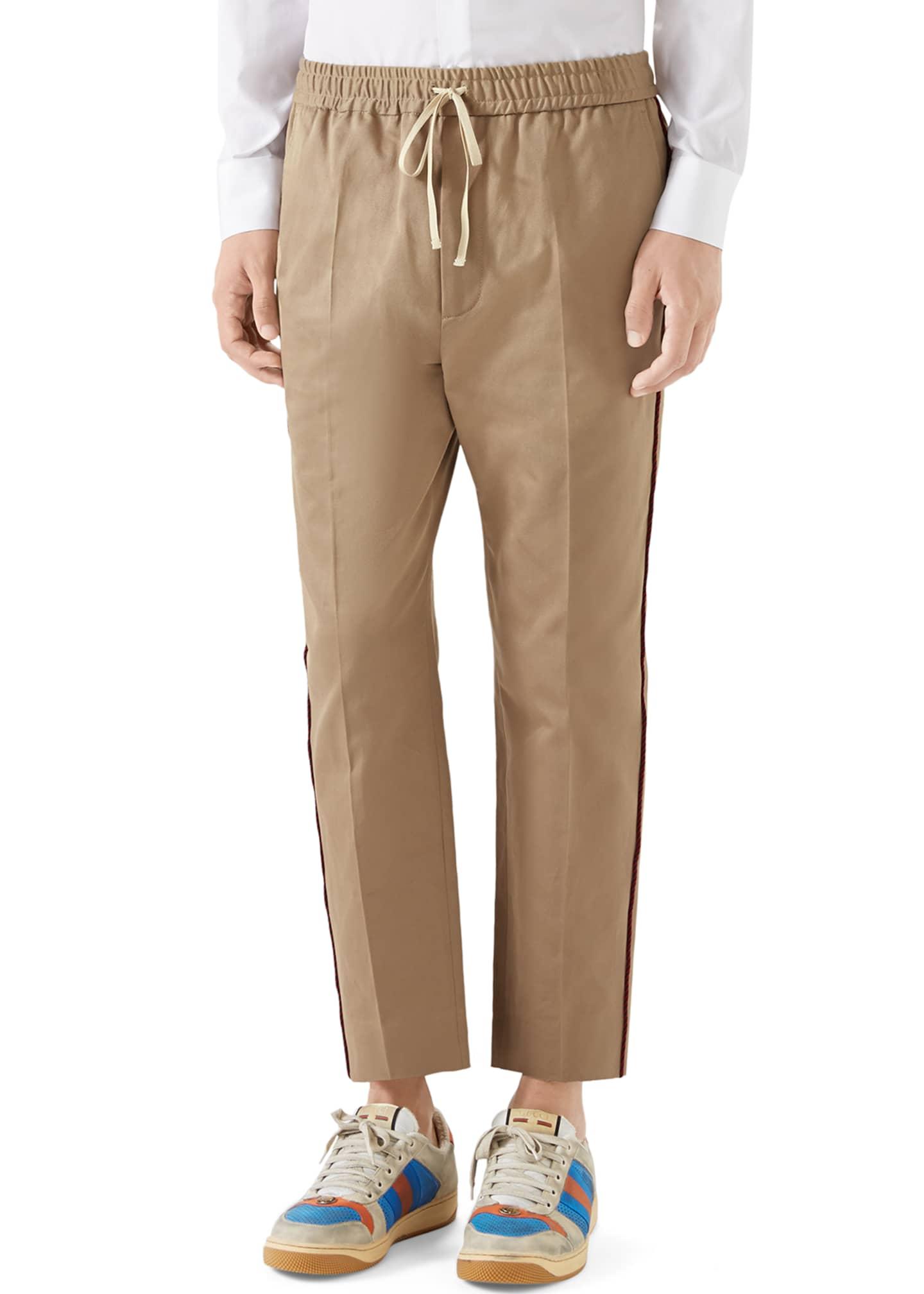 Gucci Men's Rope-Trim Drawstring Chino Pants