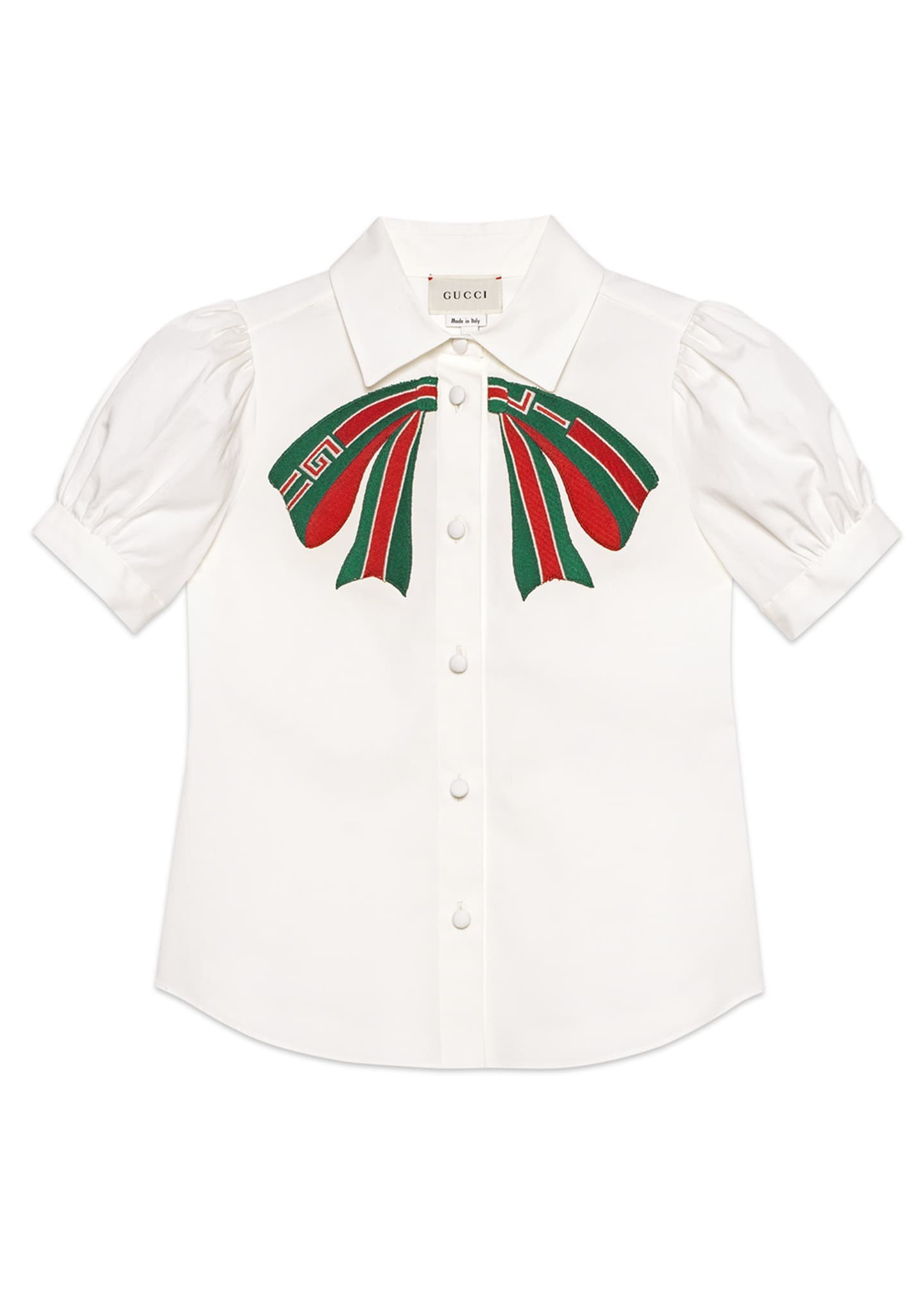 Gucci Puffy-Sleeve Collared Top w/ Logo Bow Applique,