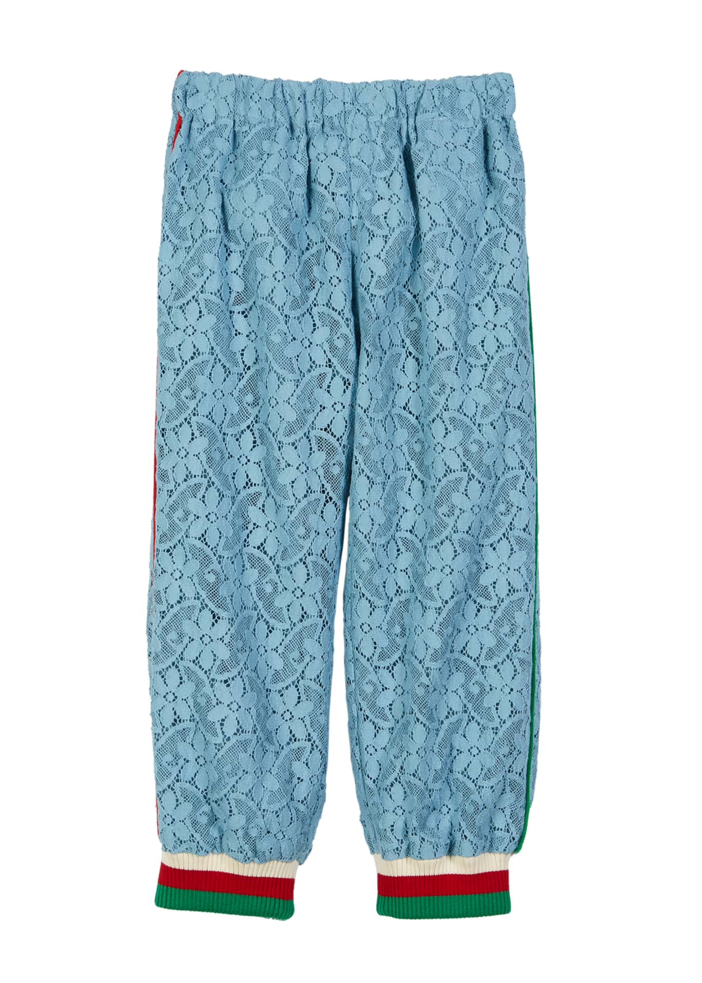 Gucci Lace Sweatpants w/ Striped Knit Ankle Cuffs,
