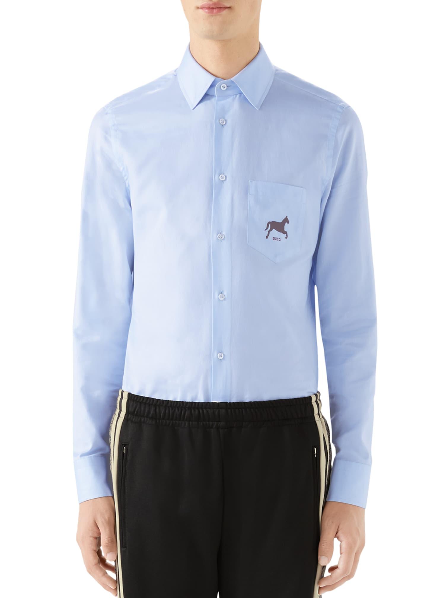 Gucci Men's Horse-Logo Poplin Sport Shirt