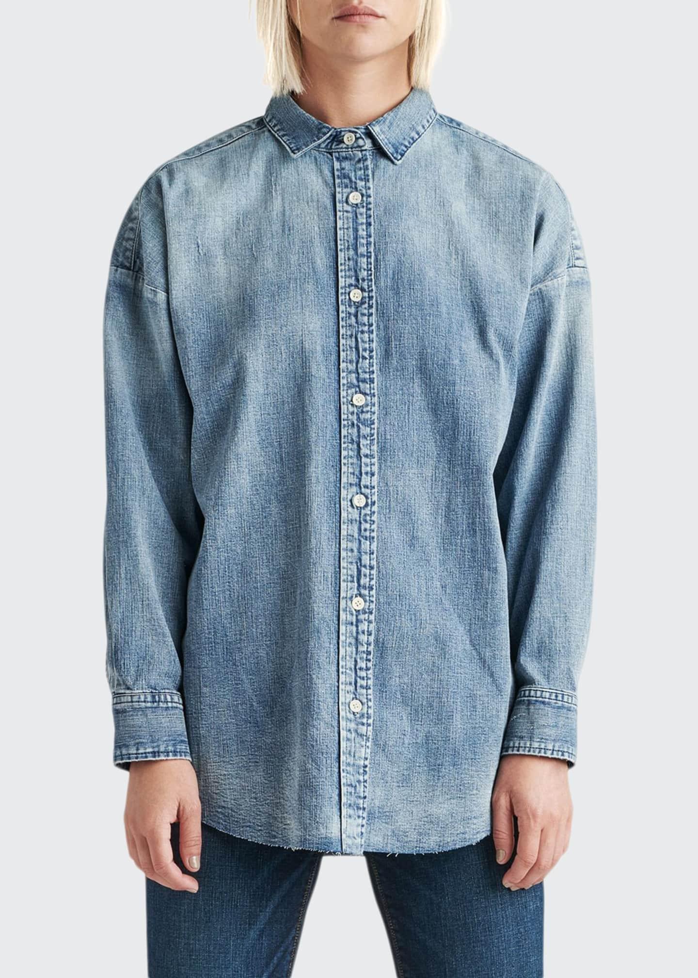 Hudson The Button Up Raw-Edge Chambray Shirt