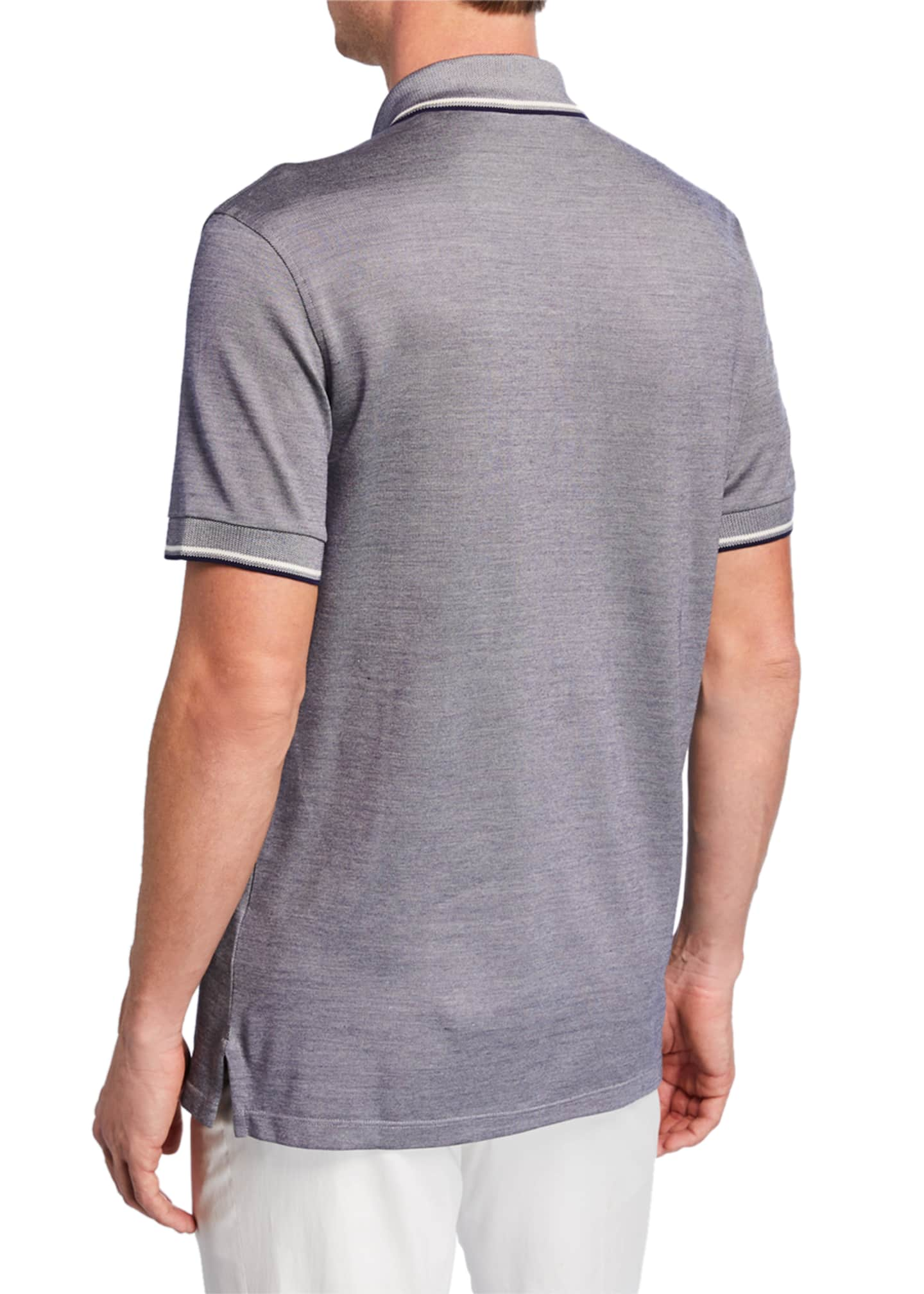 Image 2 of 2: Men's Jersey Polo Regular-Fit Shirt with Double Striped Collar