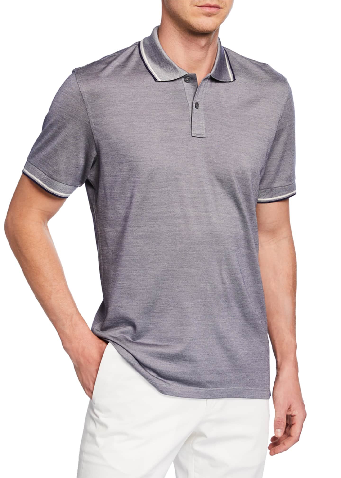 Image 1 of 2: Men's Jersey Polo Regular-Fit Shirt with Double Striped Collar