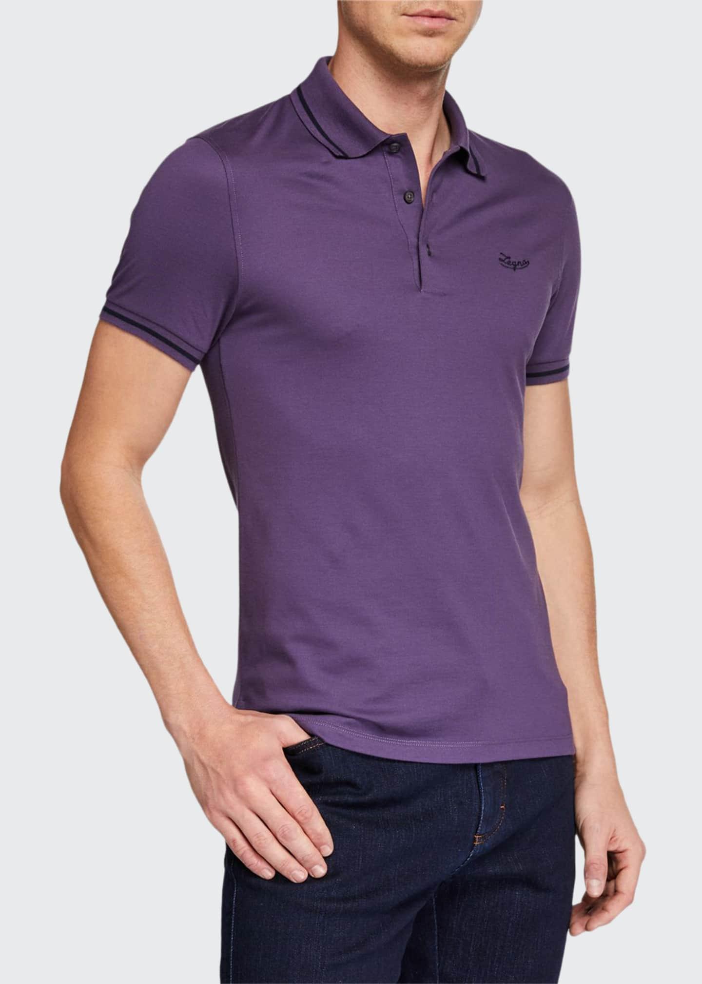 Ermenegildo Zegna Men's Tipped Cotton Jersey Polo Shirt