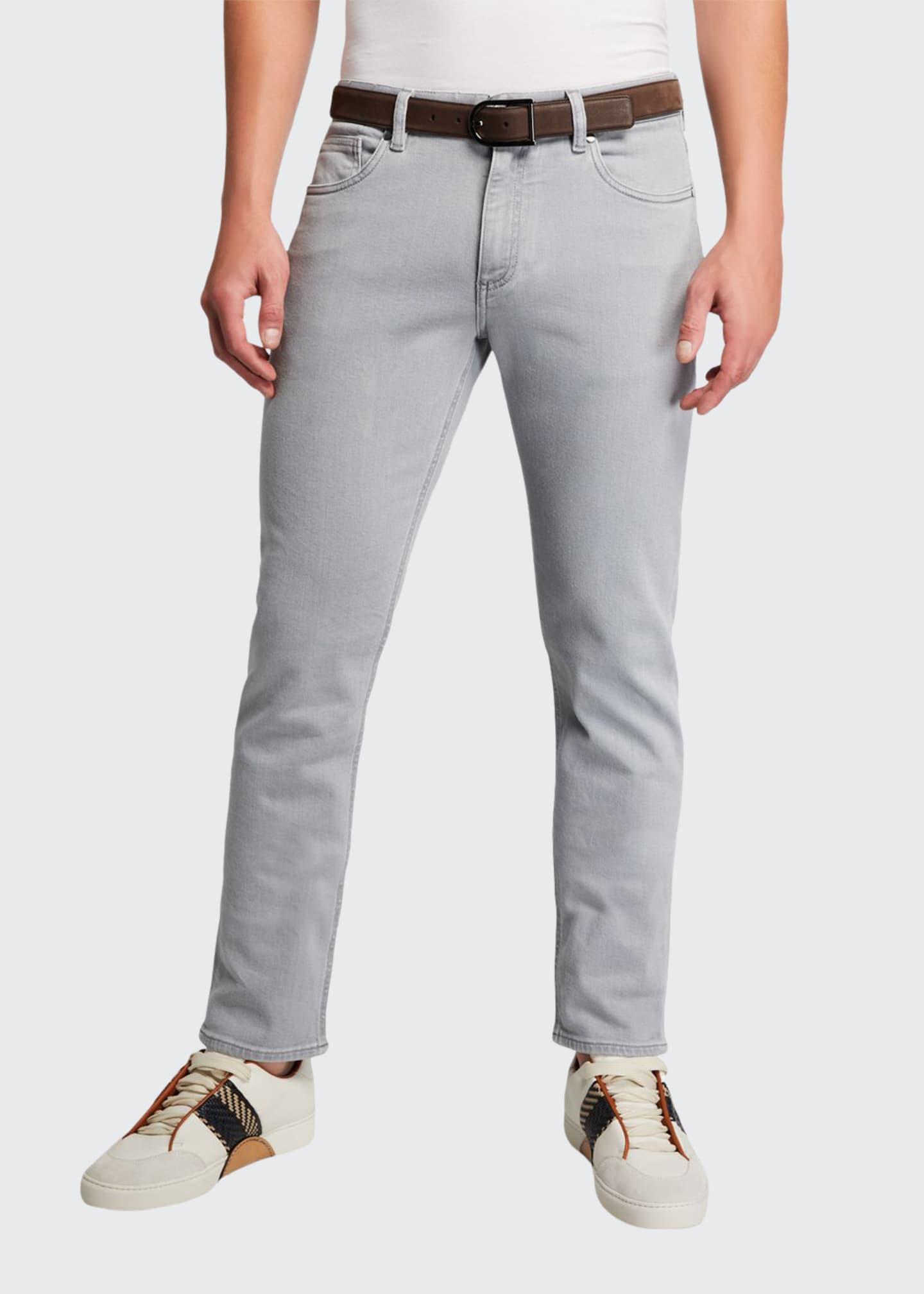 Ermenegildo Zegna Men's Gray-Wash Five-Pocket Jeans