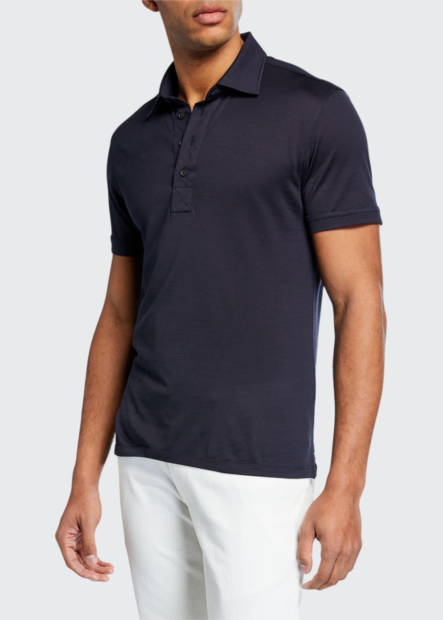 Ermenegildo Zegna Men's Leggerissimo Cotton Polo Shirt, Navy