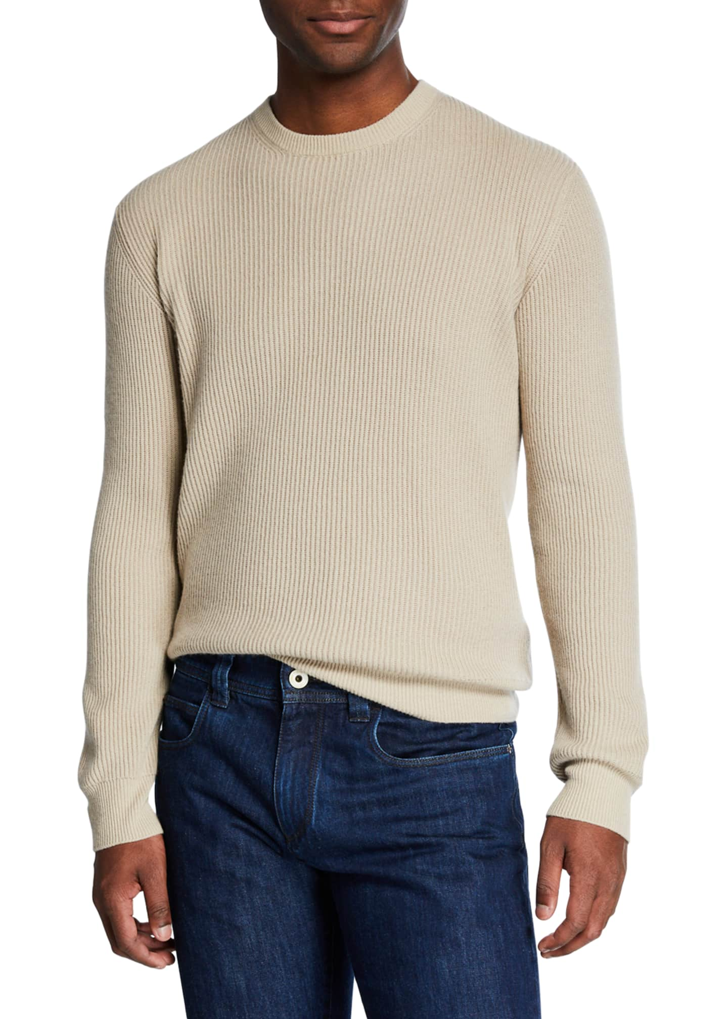 Loro Piana Men's Girocollo Cash York Ribbed Sweater