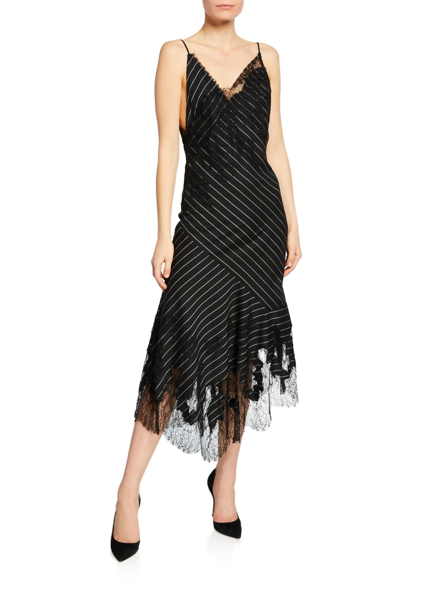 Jason Wu Collection Lacy Pinstriped Strappy Cocktail Dress
