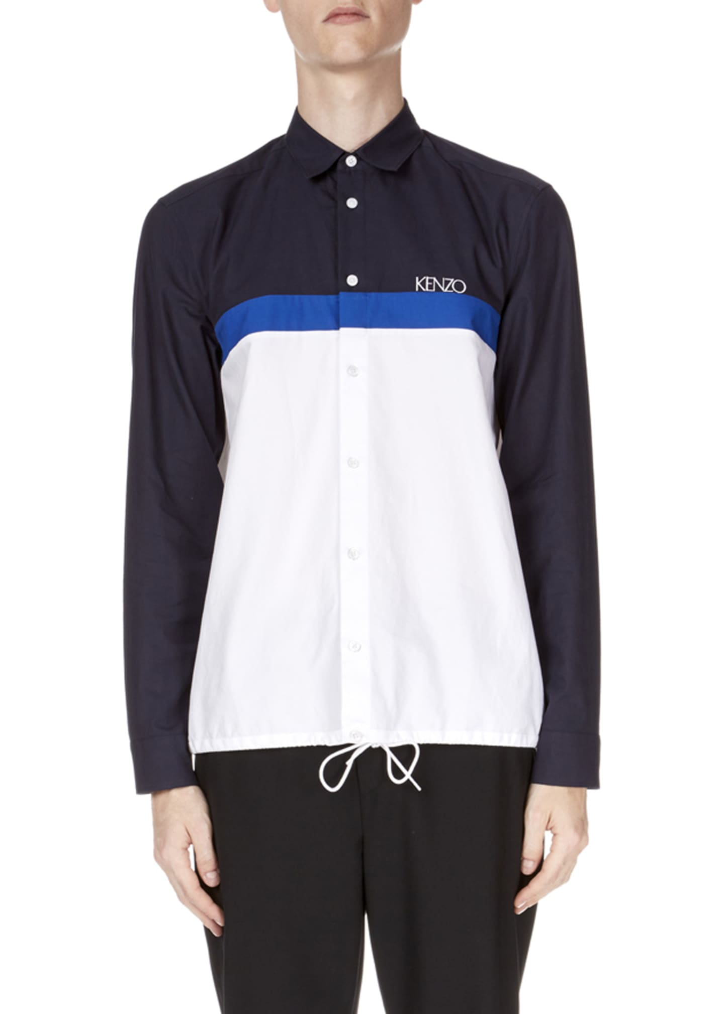 Kenzo Men's Drawstring Casual Fit Sport Shirt