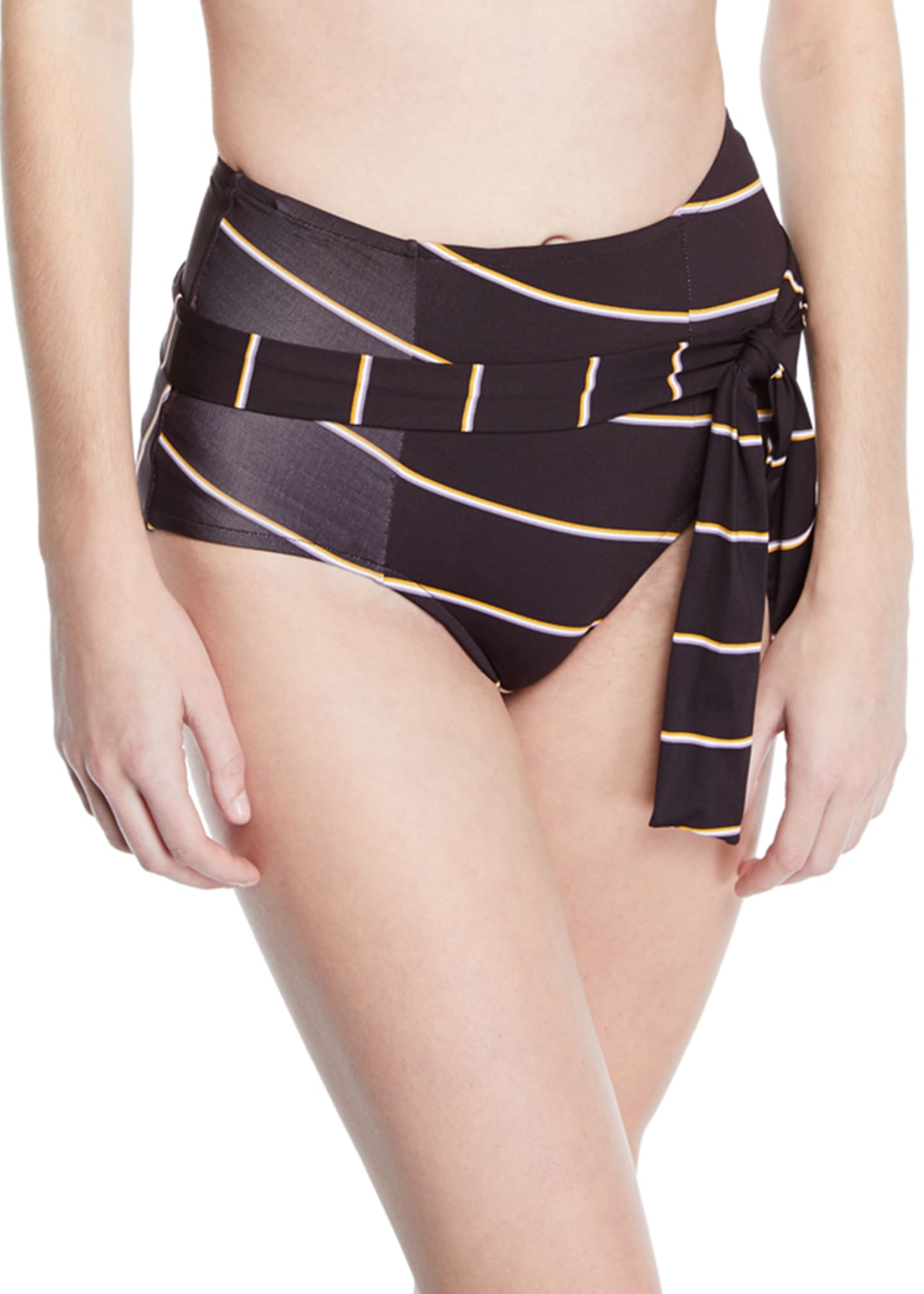 Seafolly Amulet Striped Tie-Front Bikini Bottom
