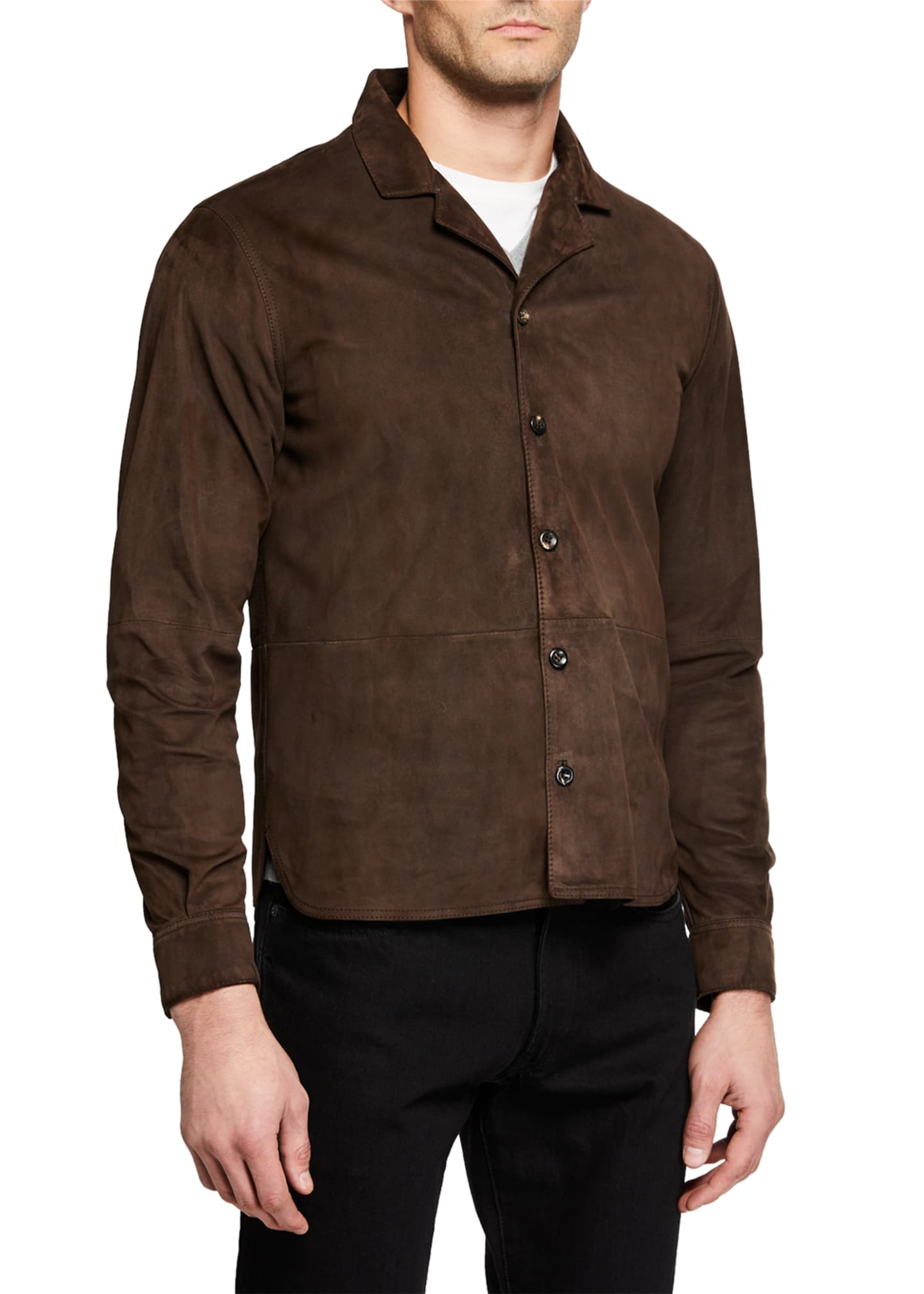 Image 2 of 3: Men's Suede Bowling Overshirt