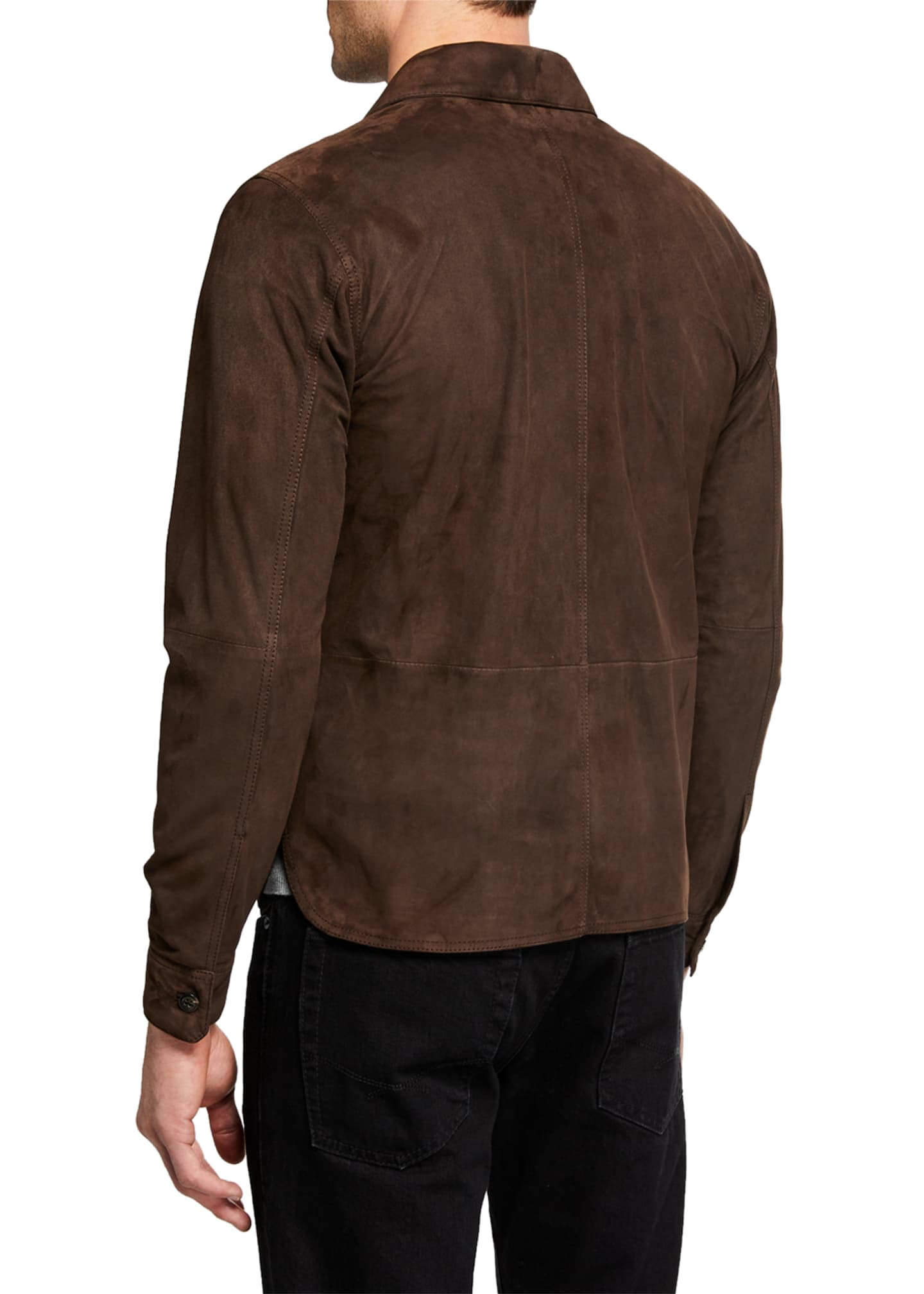 Image 3 of 3: Men's Suede Bowling Overshirt