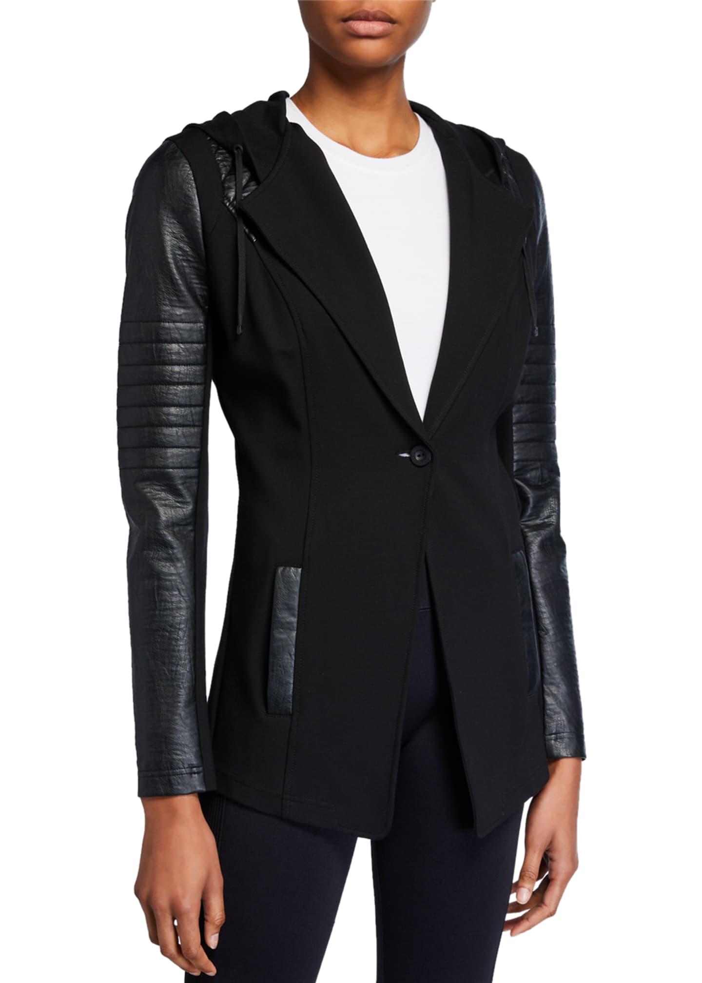 Blanc Noir Hooded Single-Button Moto Blazer
