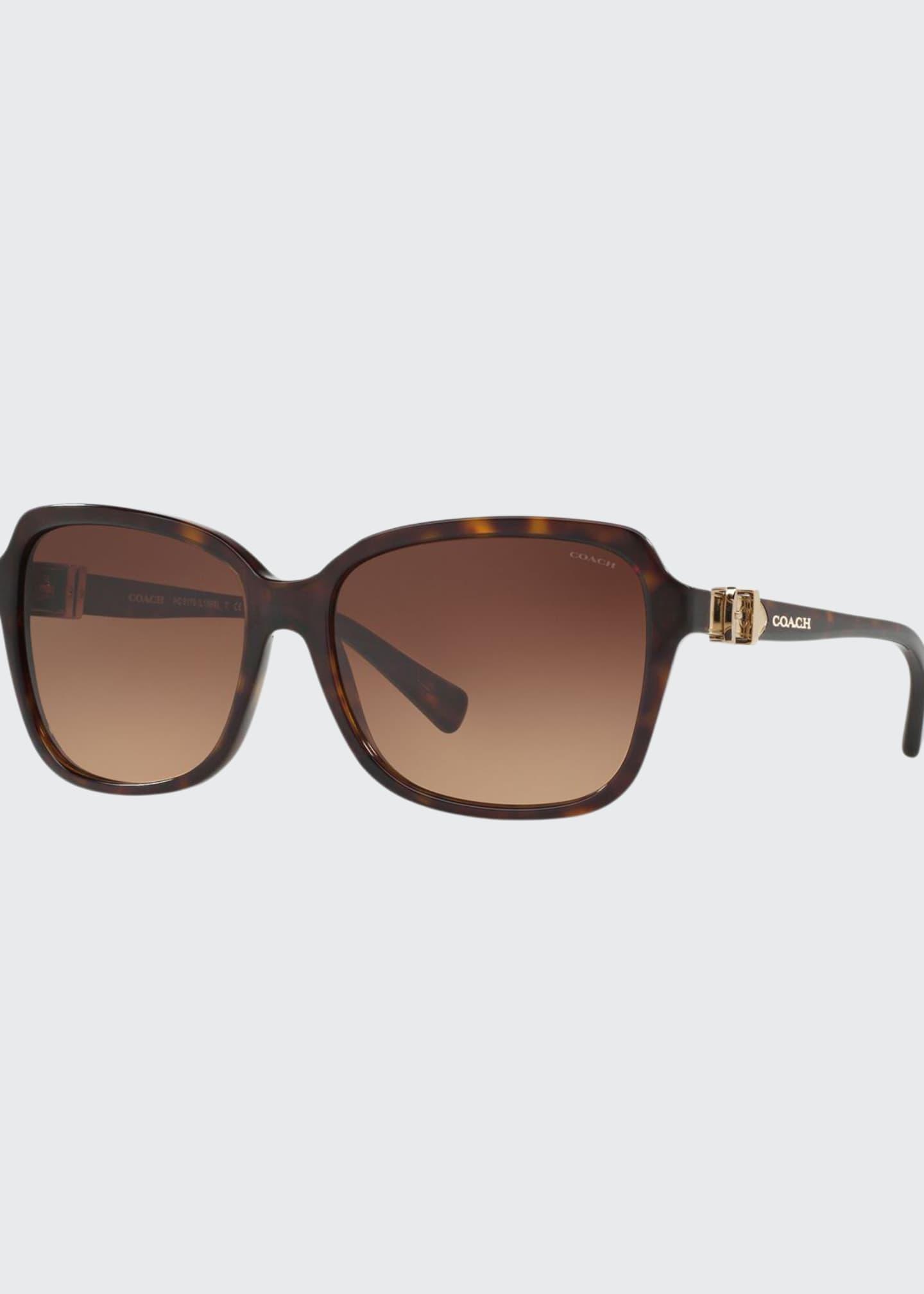 Coach Square Acetate Sunglasses w/ 3D Buckle Temples