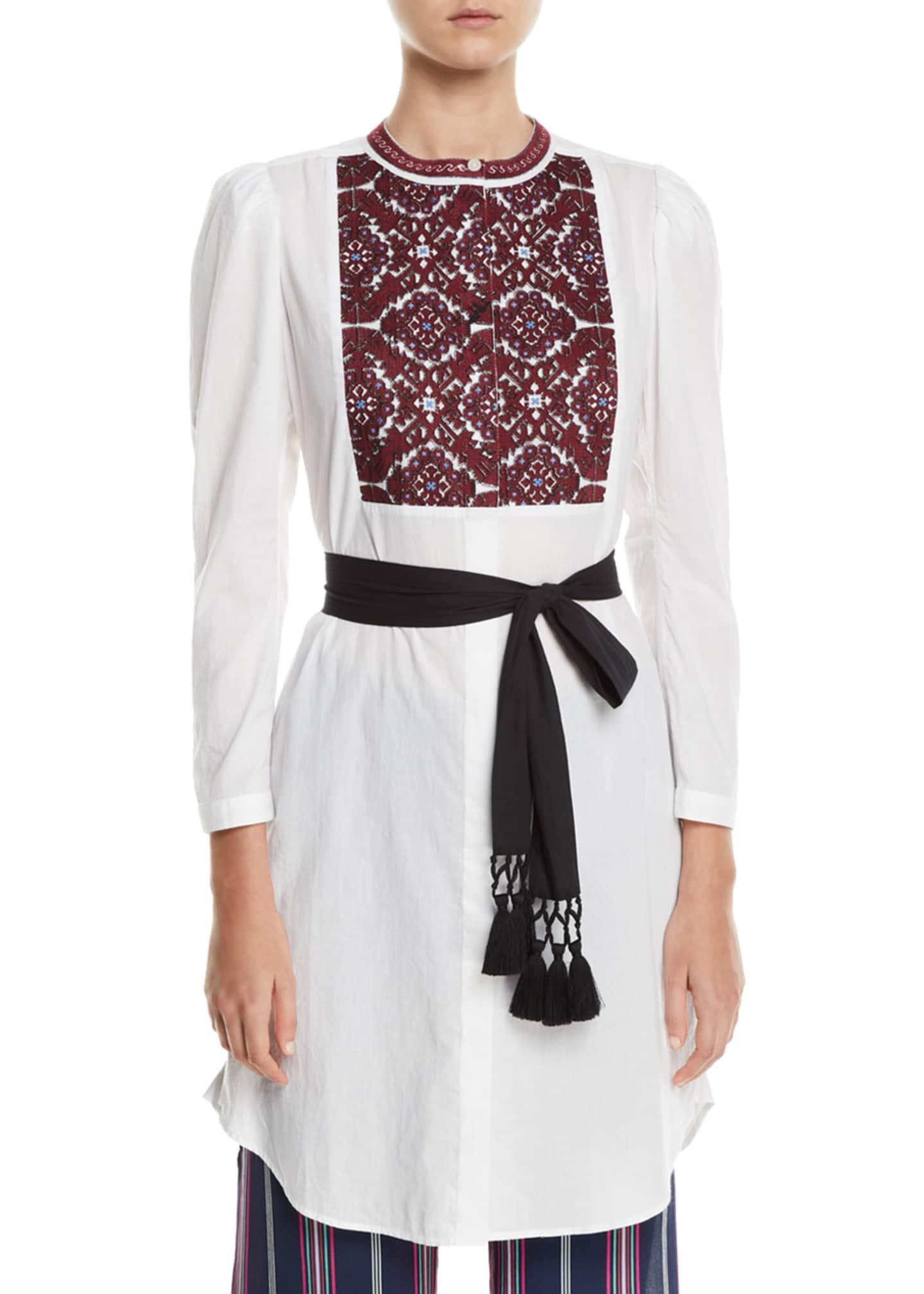 Figue Perine Embroidered-Bib Tie-Waist Dress