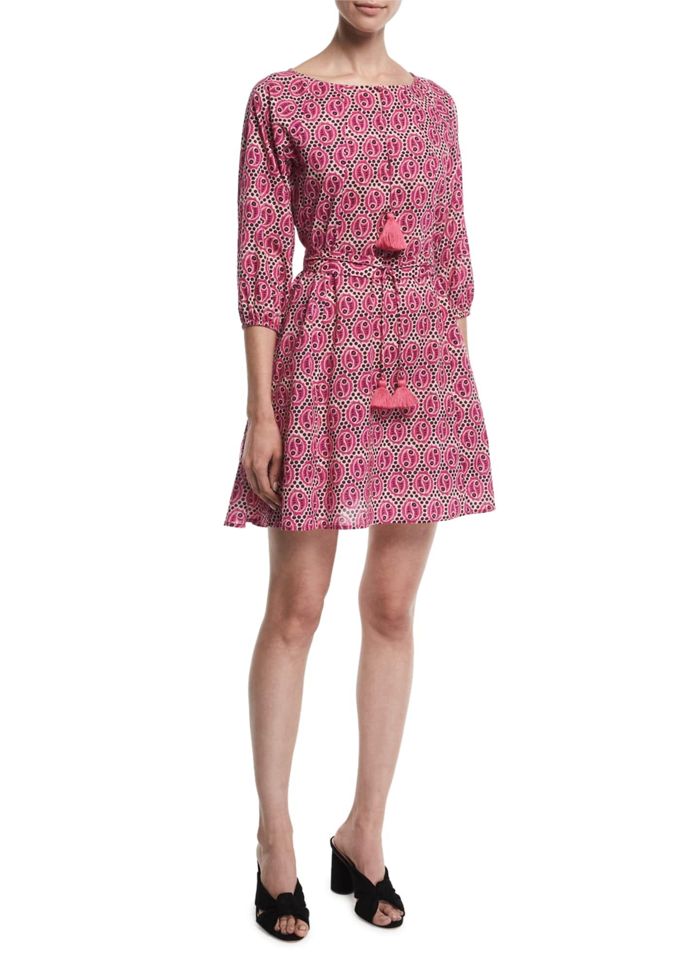 Figue Jules Medallion Print Tassel-Trim Dress