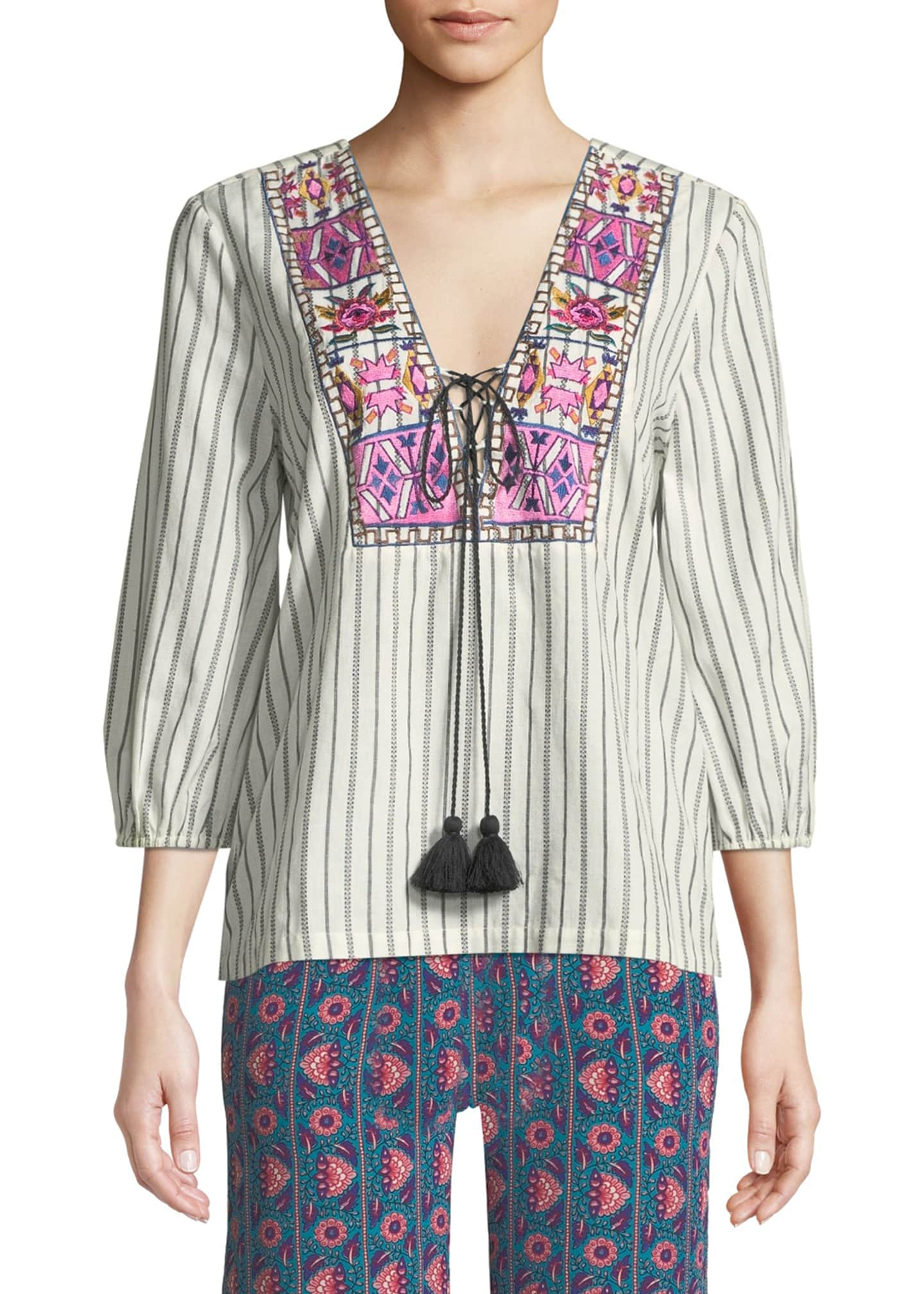 Figue Bella 3/4-Sleeve Embroidered Bib Peasant Blouse