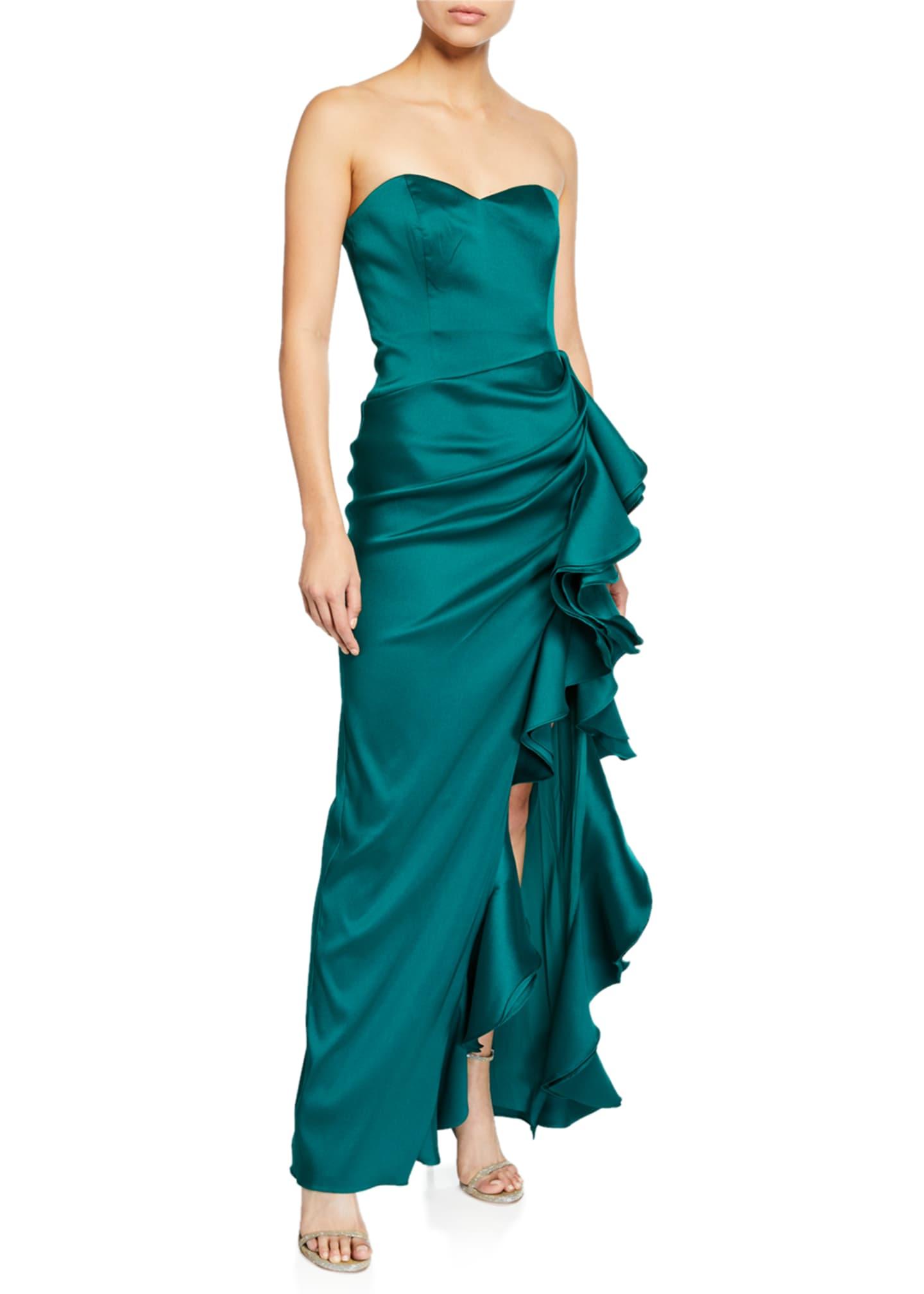 Badgley Mischka Collection Strapless Column Gown w/ Bustier
