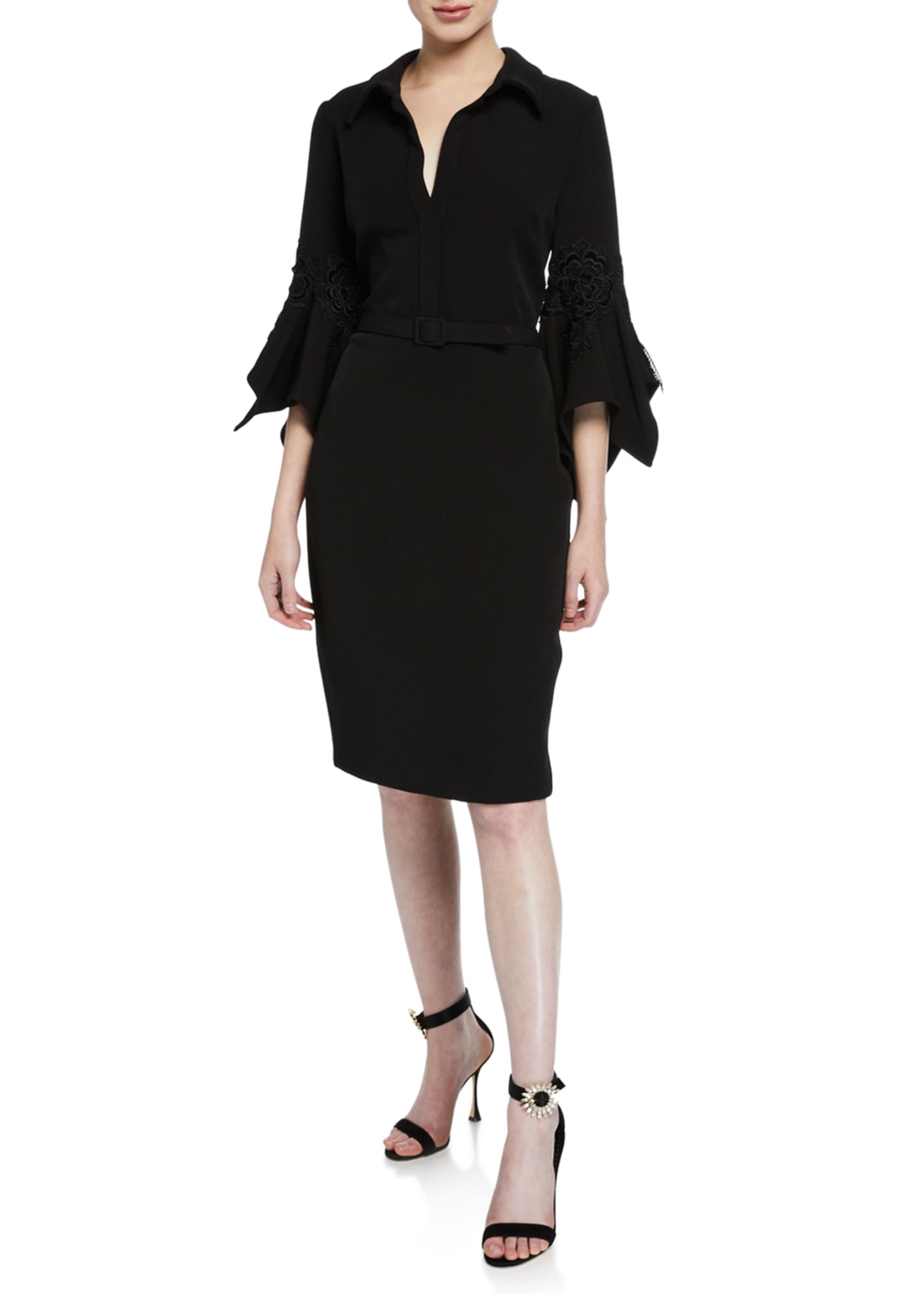Badgley Mischka Collection Hanky Bell-Sleeve Shirt Cocktail Dress