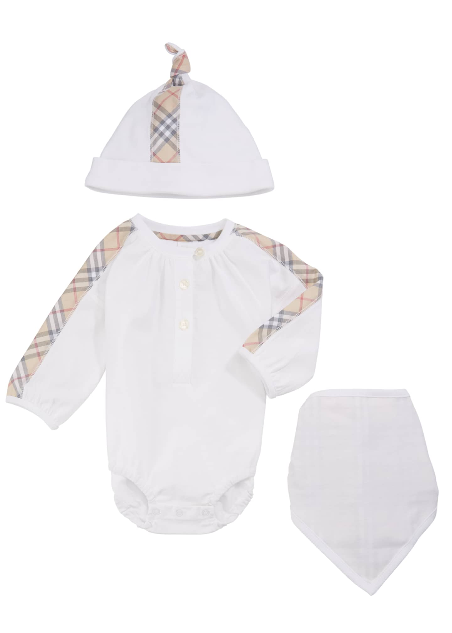 Burberry Berta Check-Trim 3-Piece Layette Set, Size 1-18