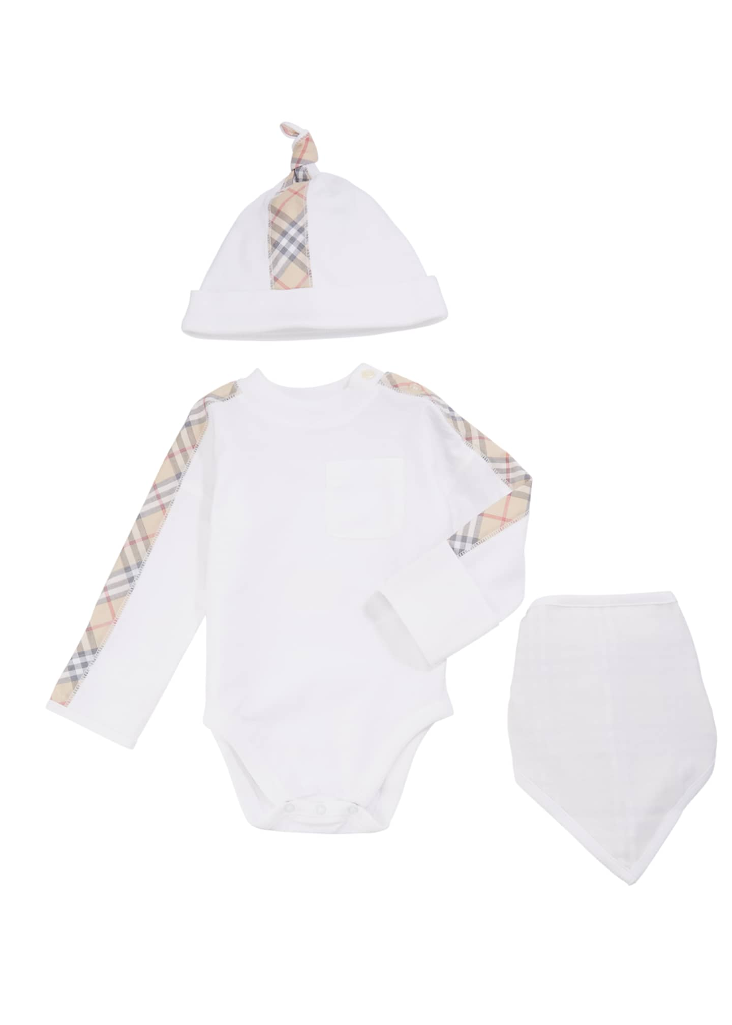 Burberry Alby Check-Trim 3-Piece Layette Set, Size 1-18