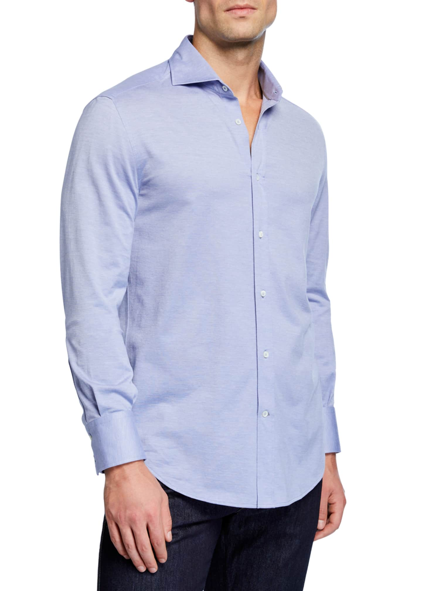 Brunello Cucinelli Men's Basic Fit Pique Sport Shirt