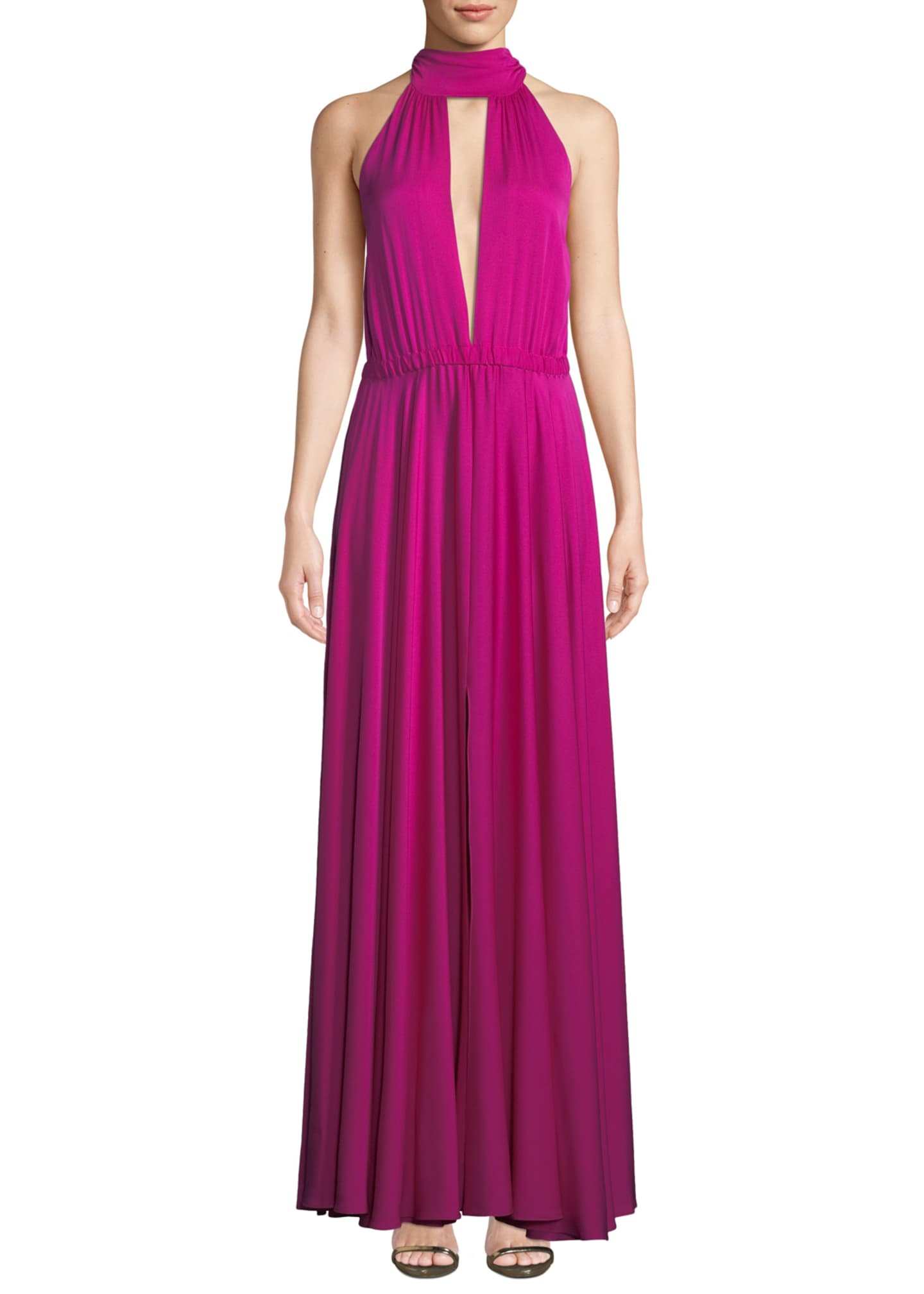 Milly Emma Tie-Neck Sleeveless Gown