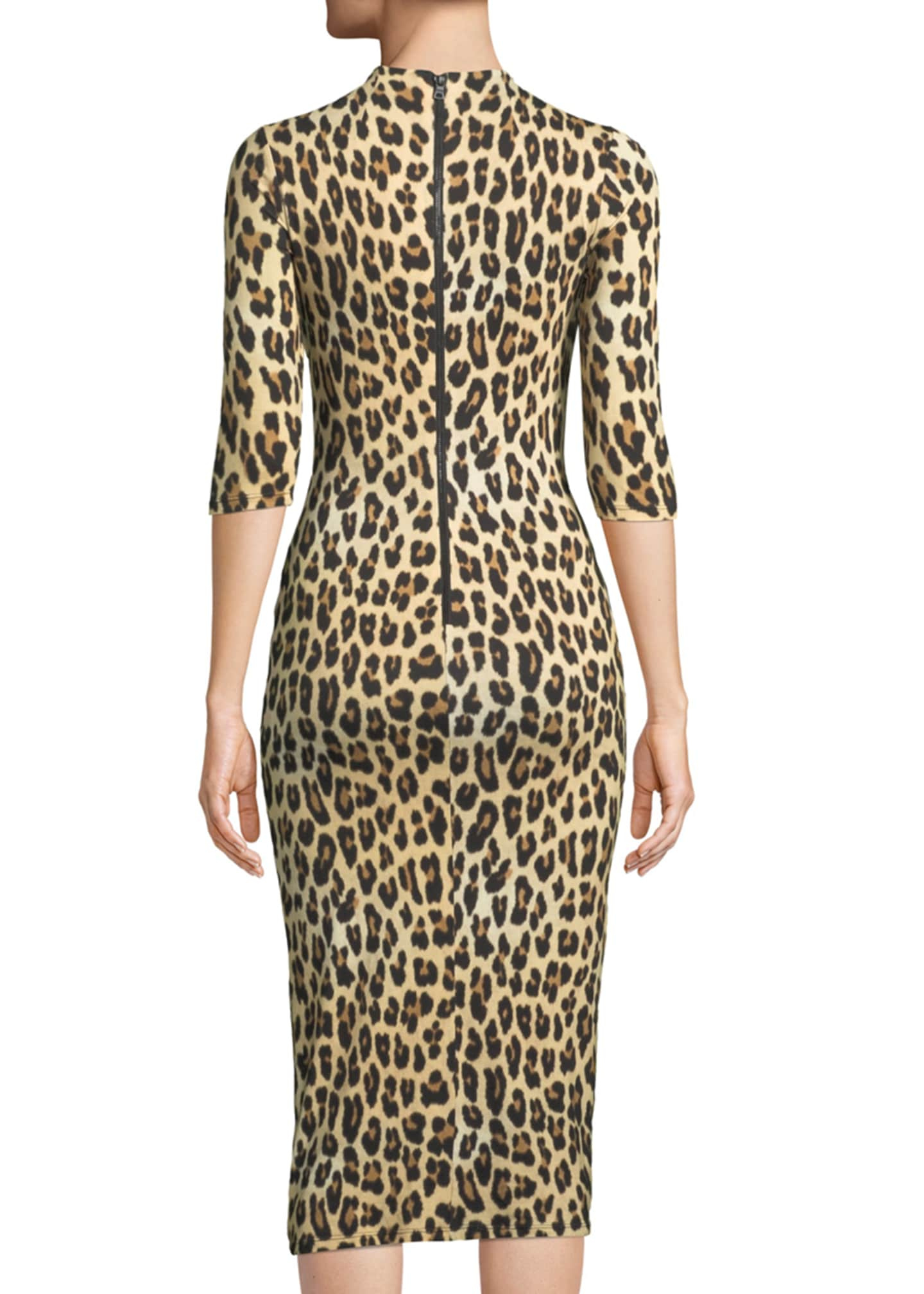 Image 2 of 3: Delora Fitted Leopard Mock-Neck Dress