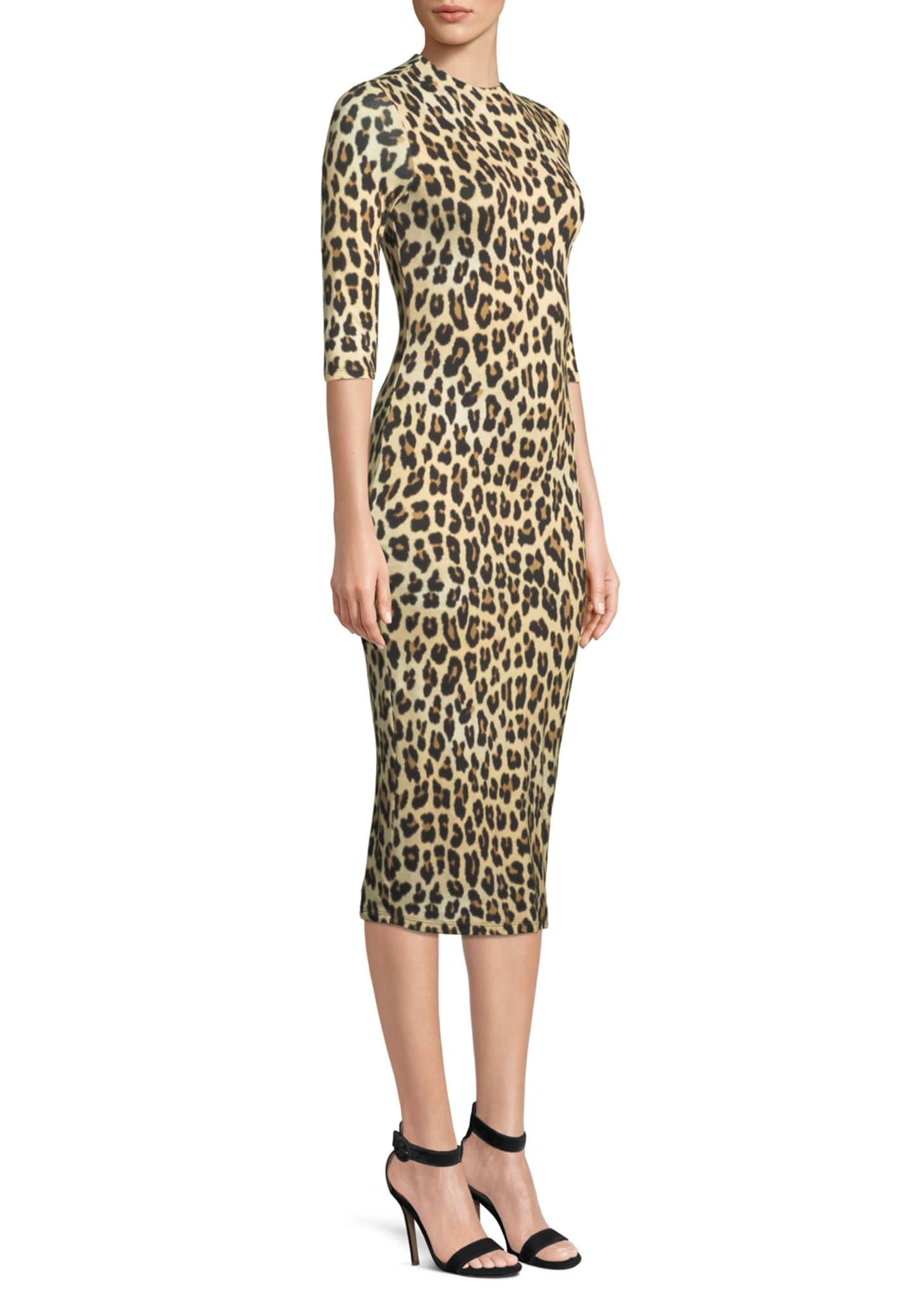 Image 3 of 3: Delora Fitted Leopard Mock-Neck Dress