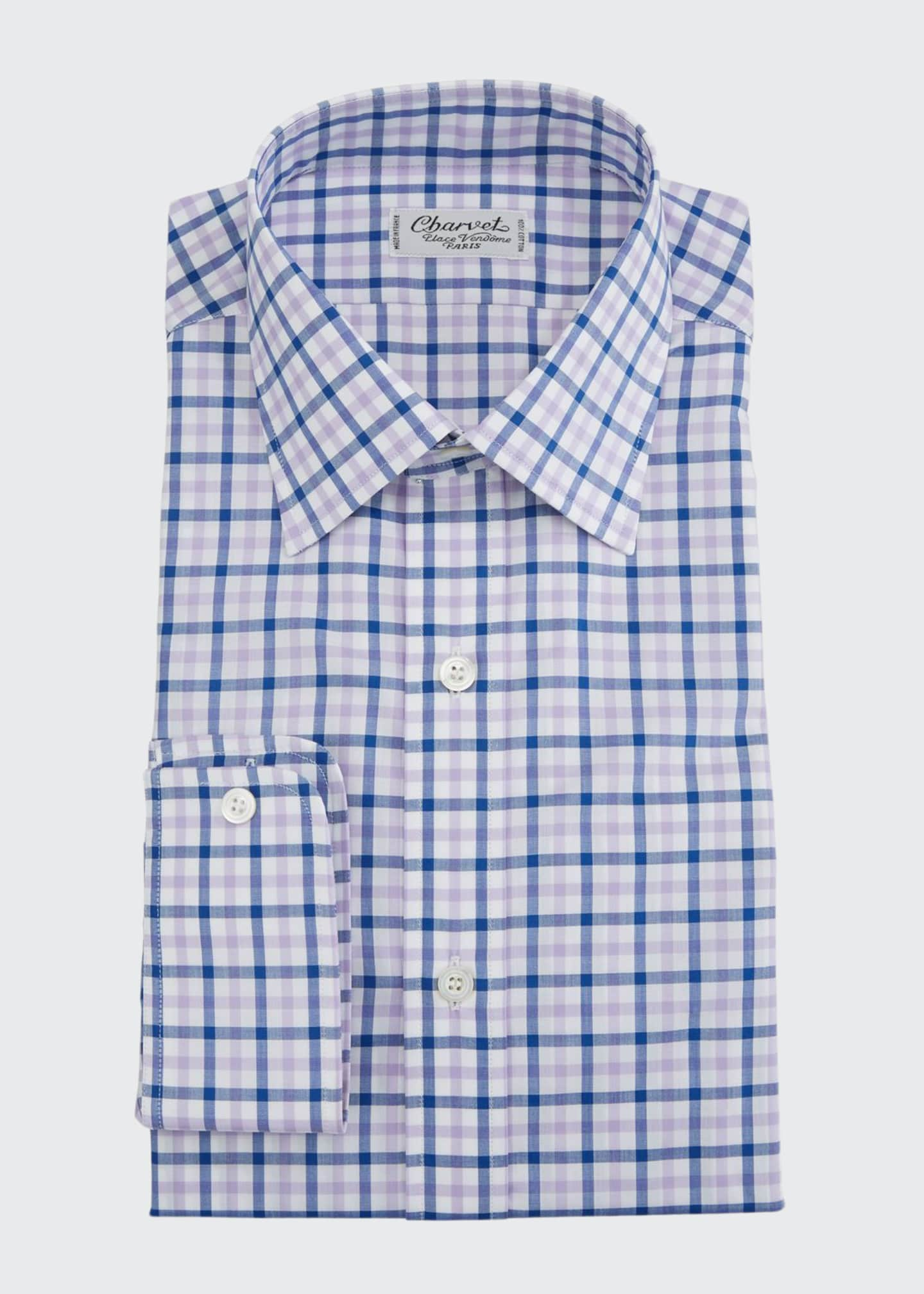 Charvet Men's Two-Tone Plaid Dress Shirt, Pink/Purple