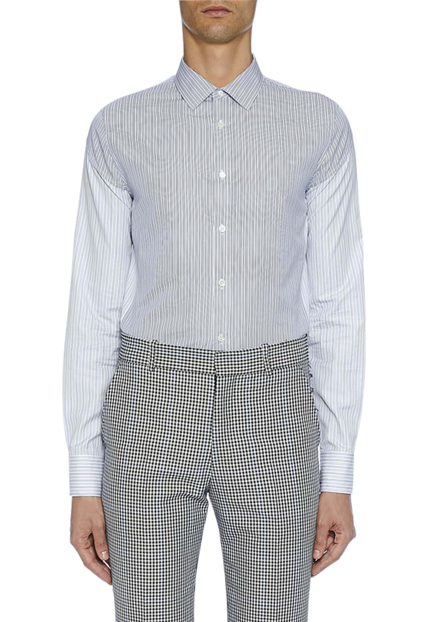 Alexander McQueen Men's Long-Sleeve Two-Tone Button-Front Shirt